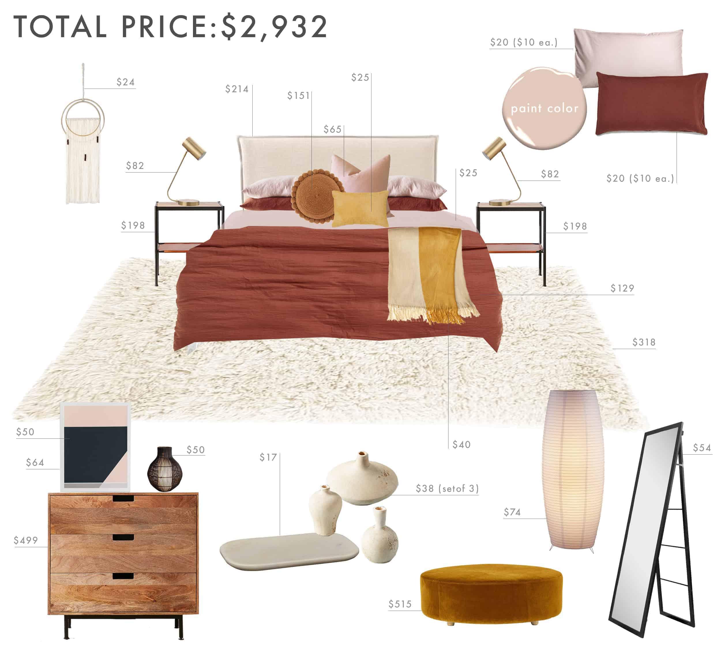 Emily Henderson Budget Room Bedroom Rust Pink Mustard Bedroom Under 3k