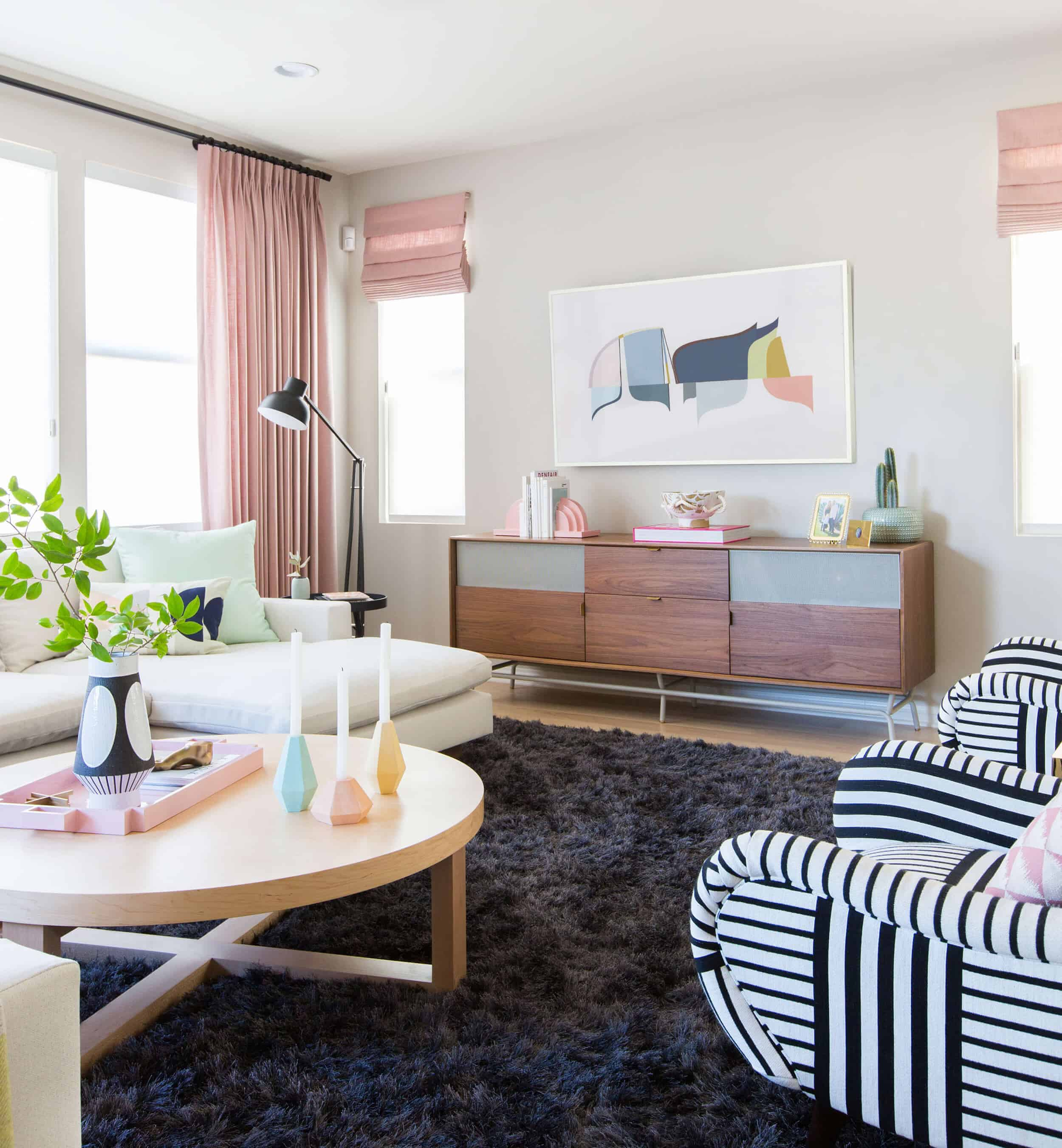 Emily Henderson Design Milk Modern Pink Black And White Jaimie Derringer Living Room Reveal 4 With Frame Cropped