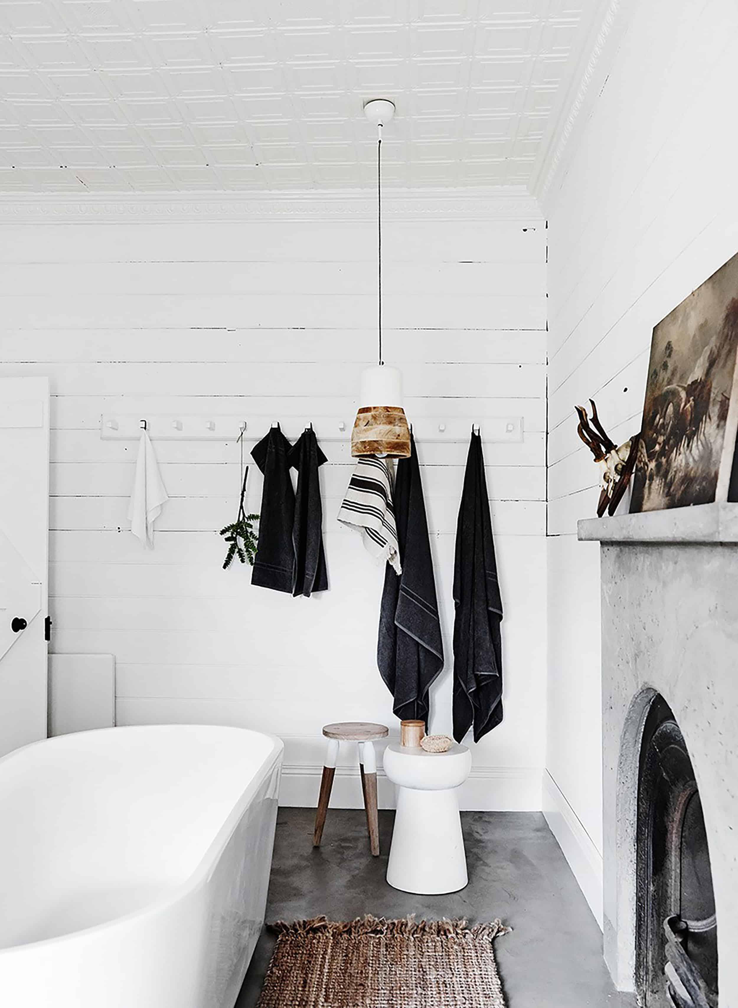 modern rustic bathroom wooden pendant