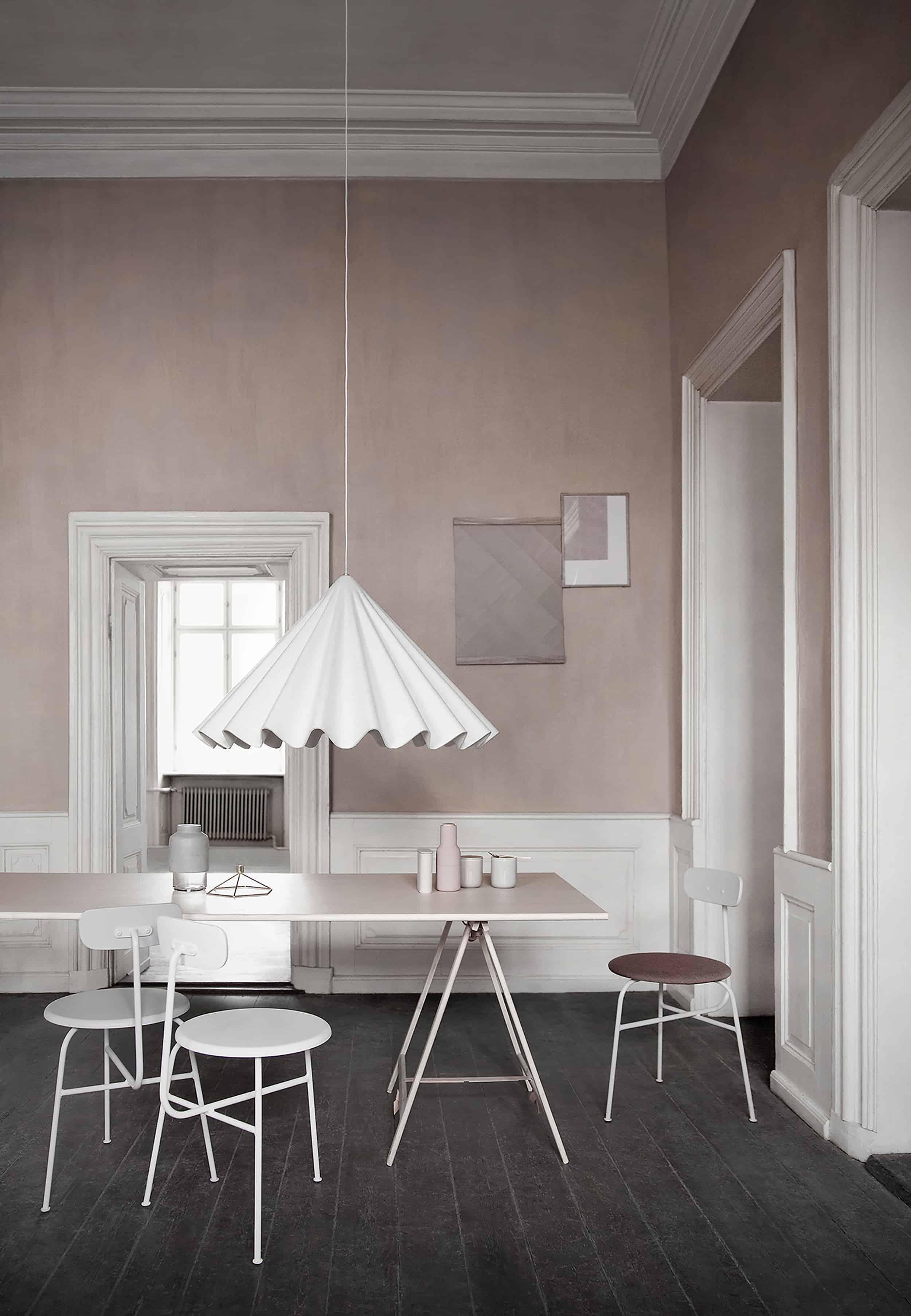 Fabric pendant blush dining room