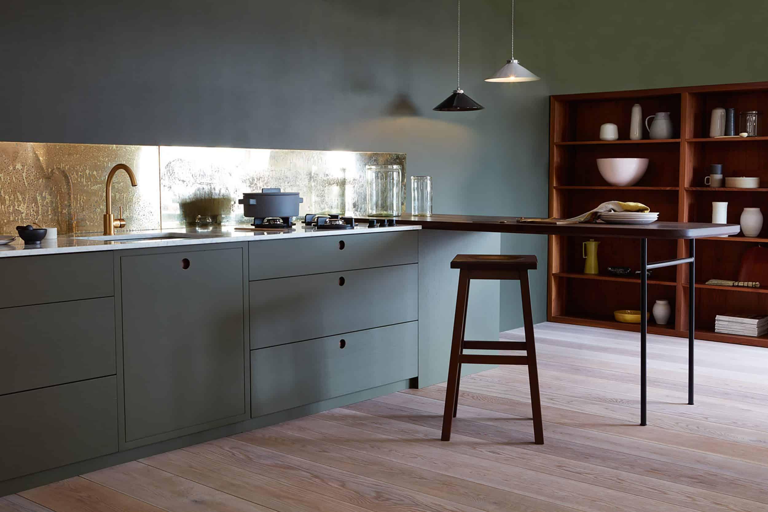 Colored Kitchen Brass Backsplash