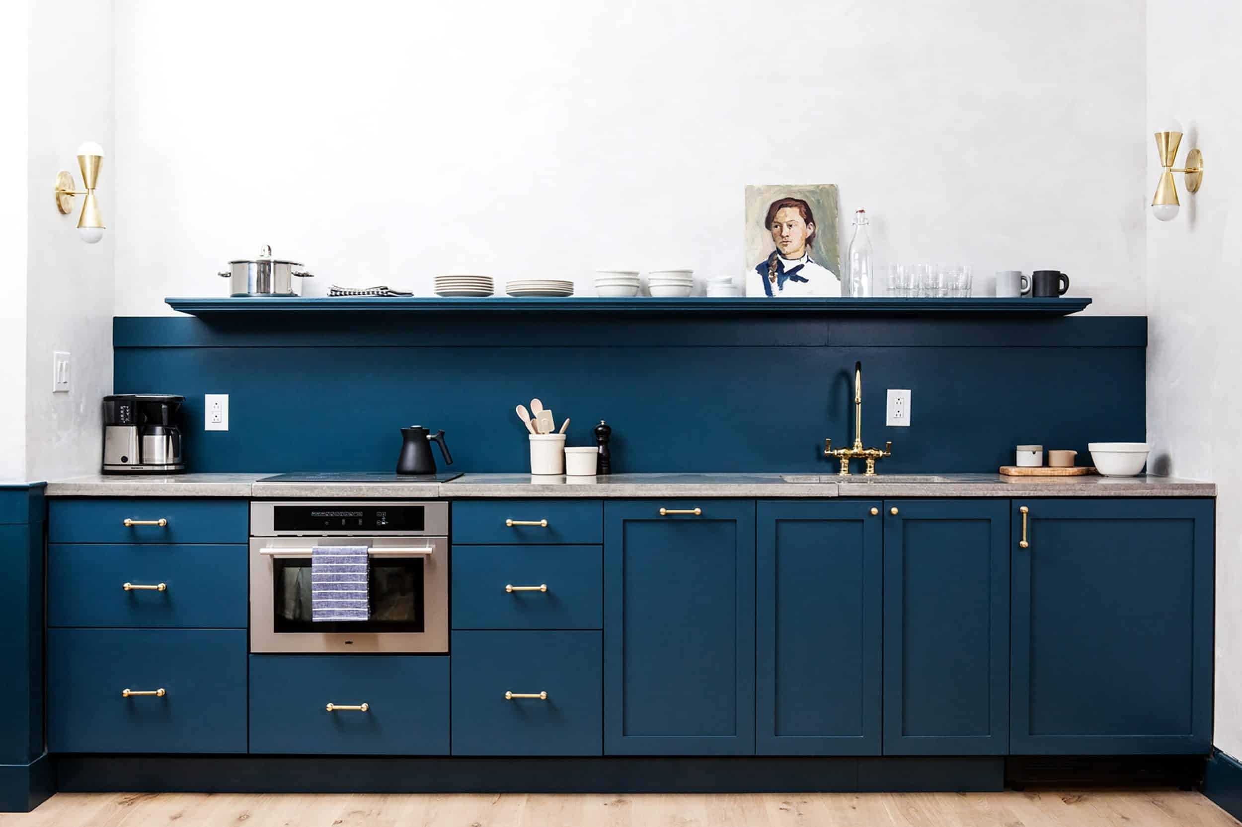 Navy Blue Kitchen Brass Hardware