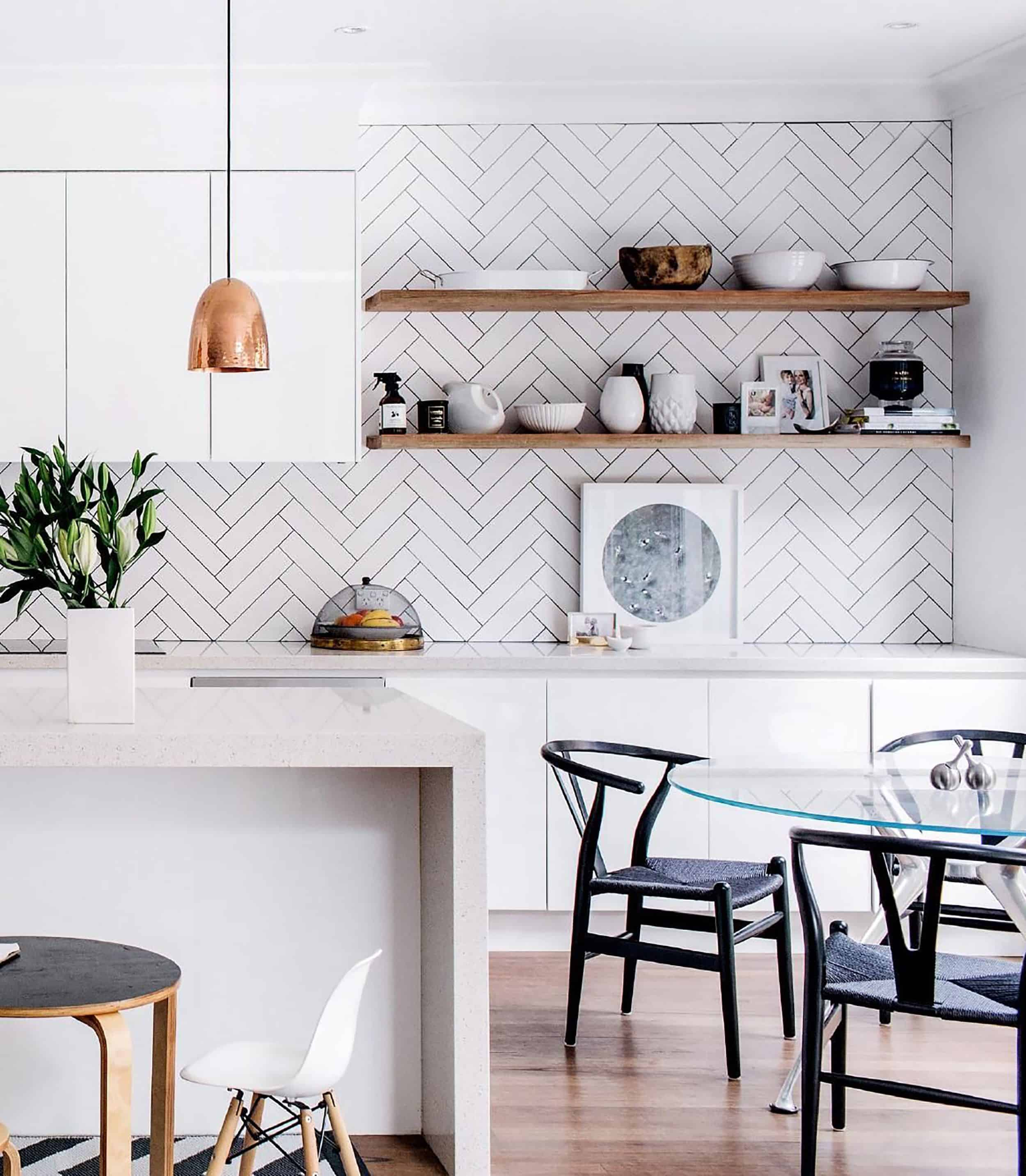Modern White Kitchen Open Shelving