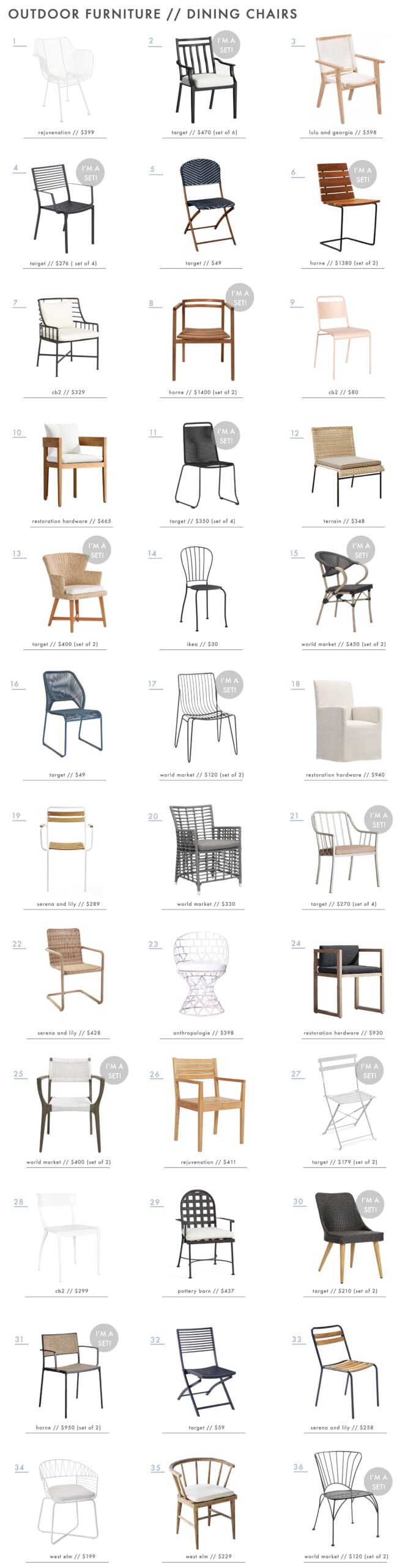 Emily Henderson Outdoor Furniture Dining Chairs Roundup
