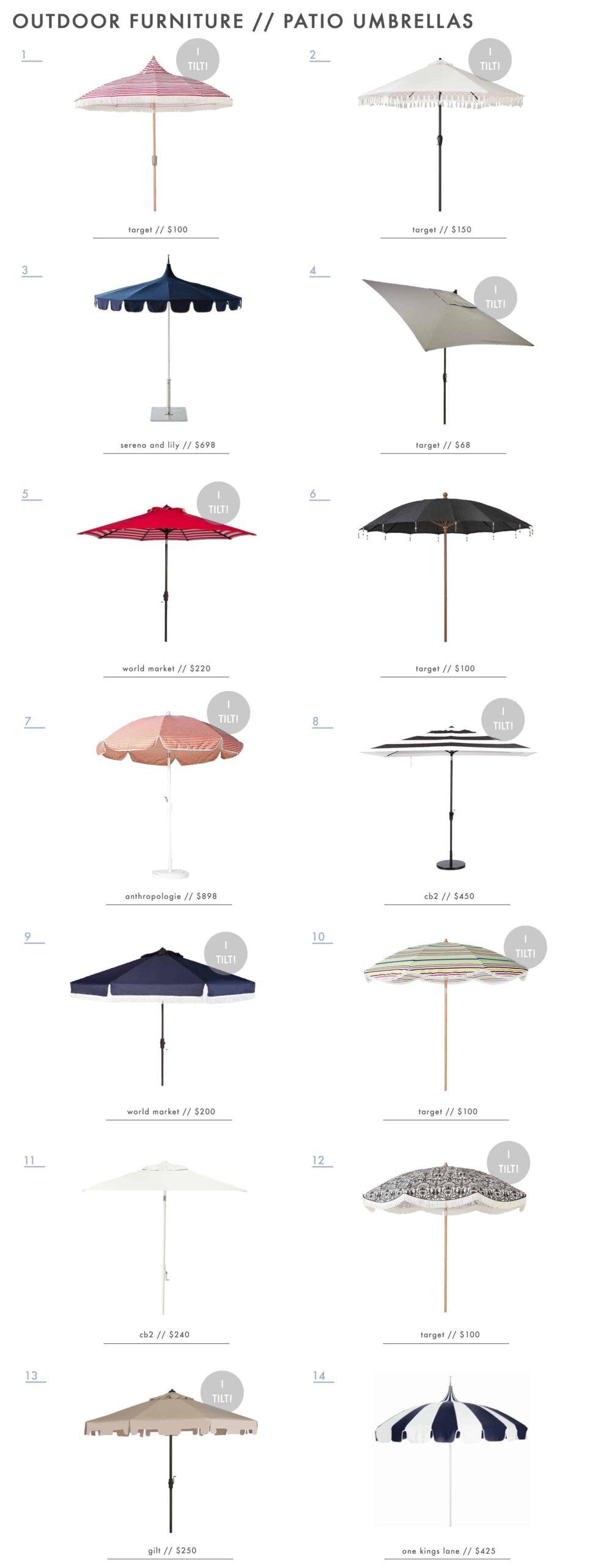 Emily Henderson Outdoor Furniture Dining Patio Umbrellas Roundup