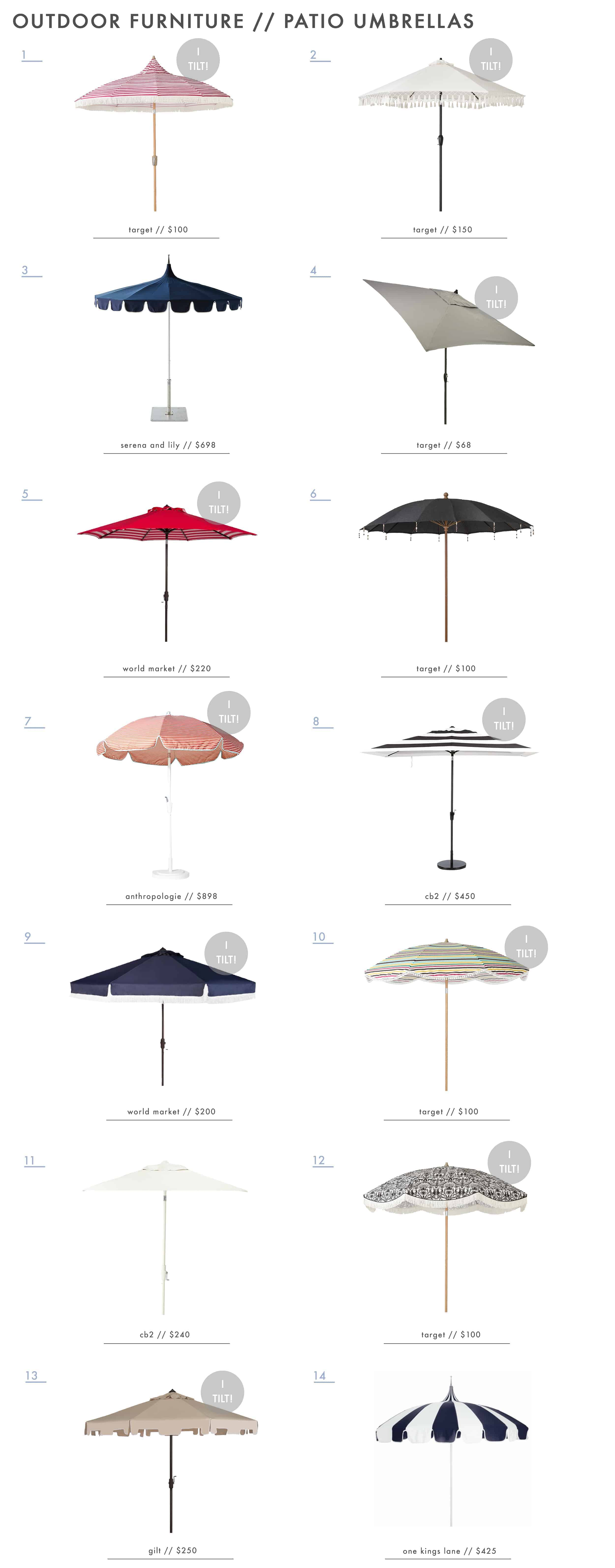 Emily Henderson Outdoor Furniture Dining Patio Umbrellas Roundup