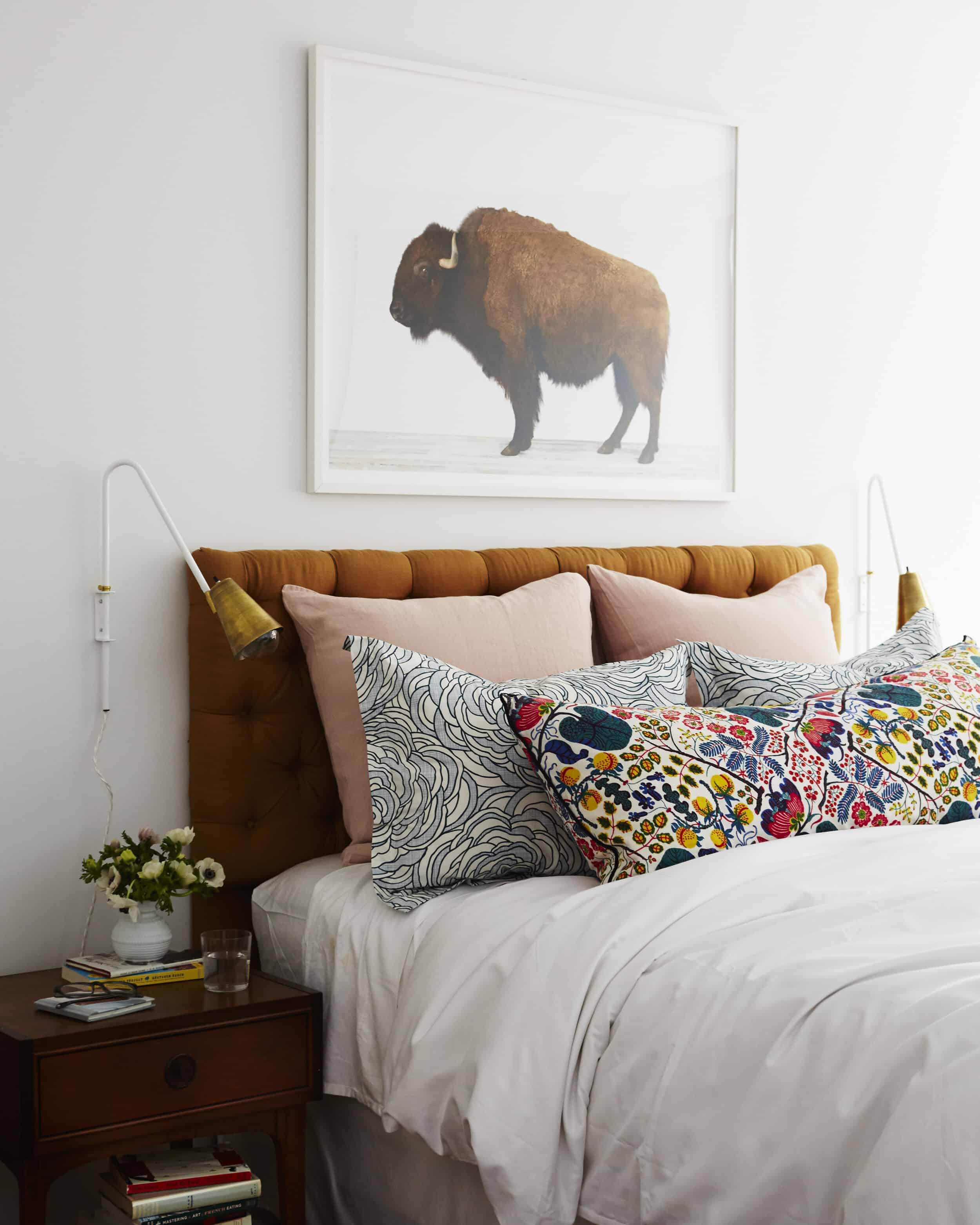 bedroom buffalo print brass sconce