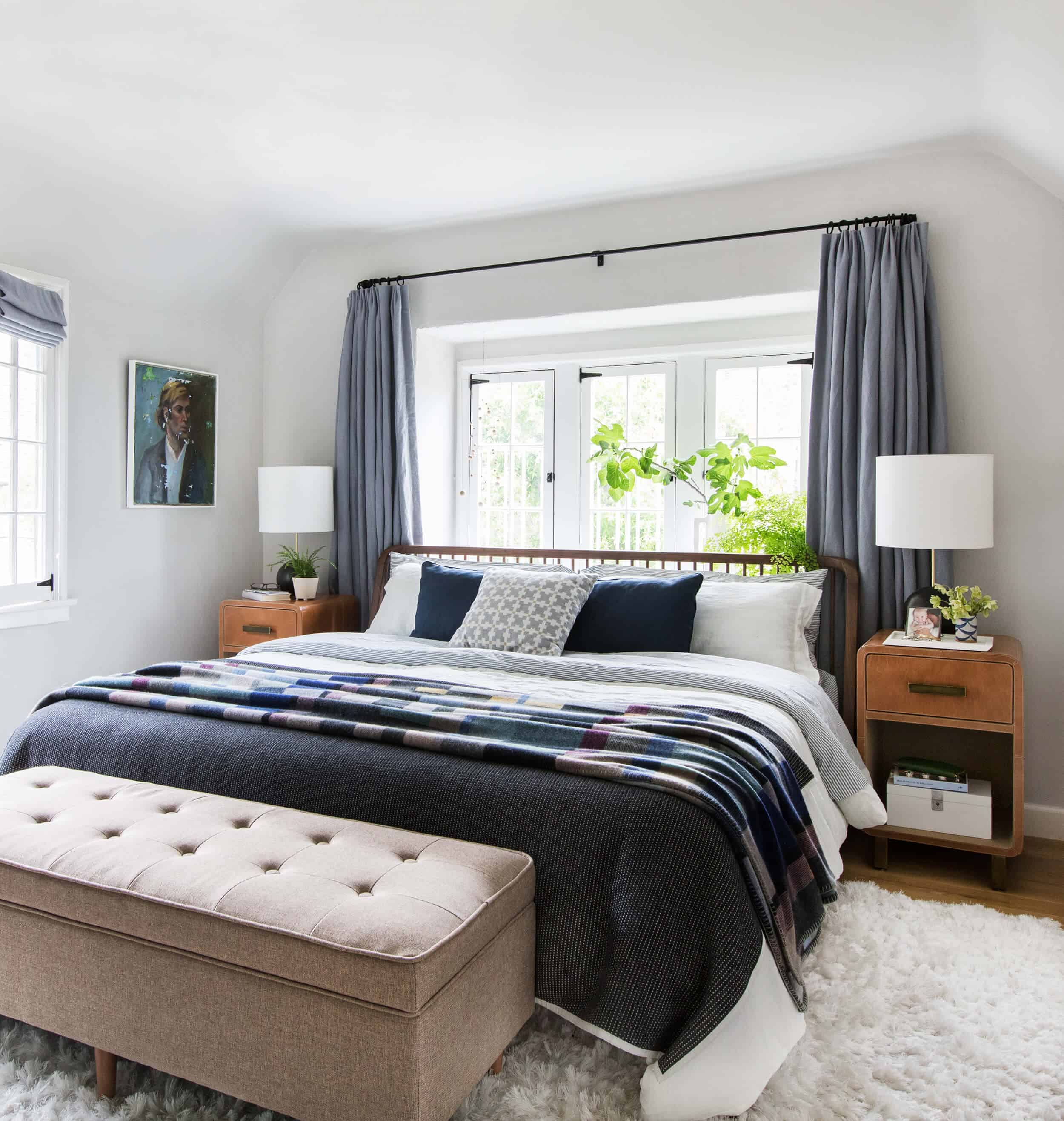 Master bedroom neutral blue