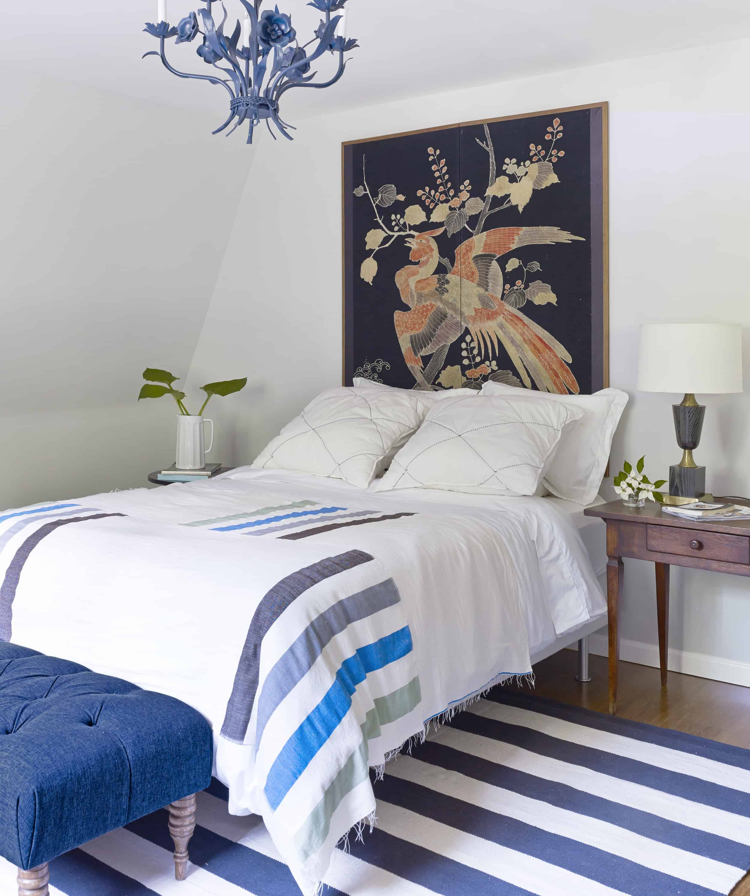 blue and white vintage bedroom blue chandelier