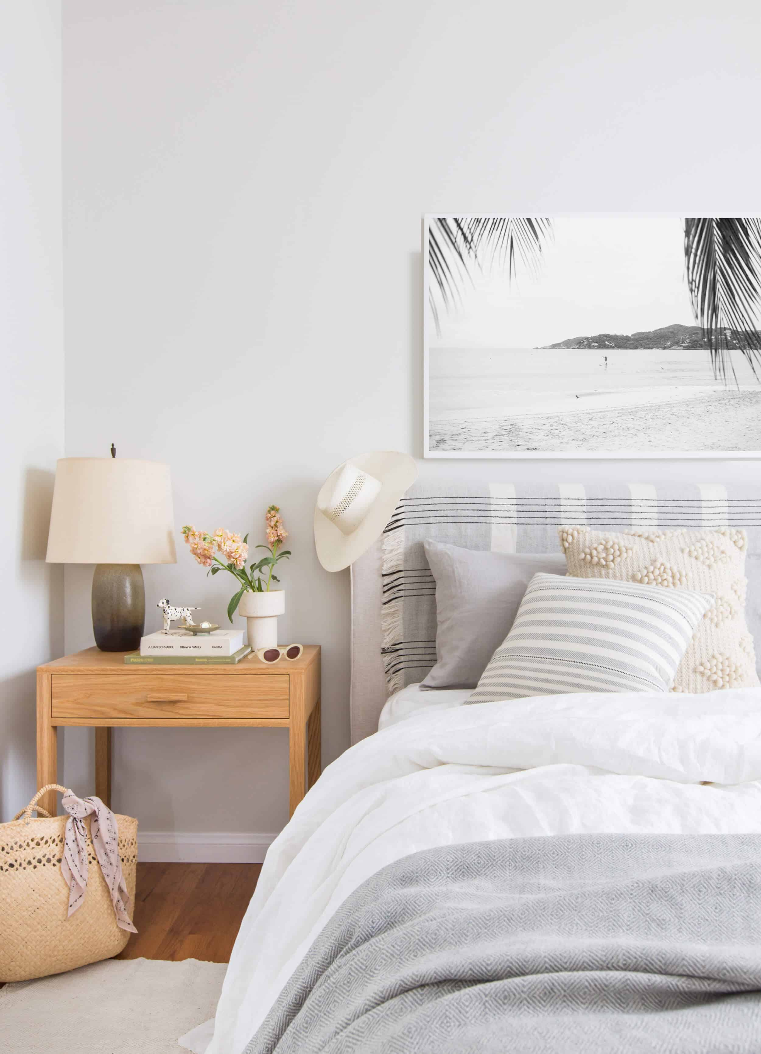 beachy bedroom gray and white