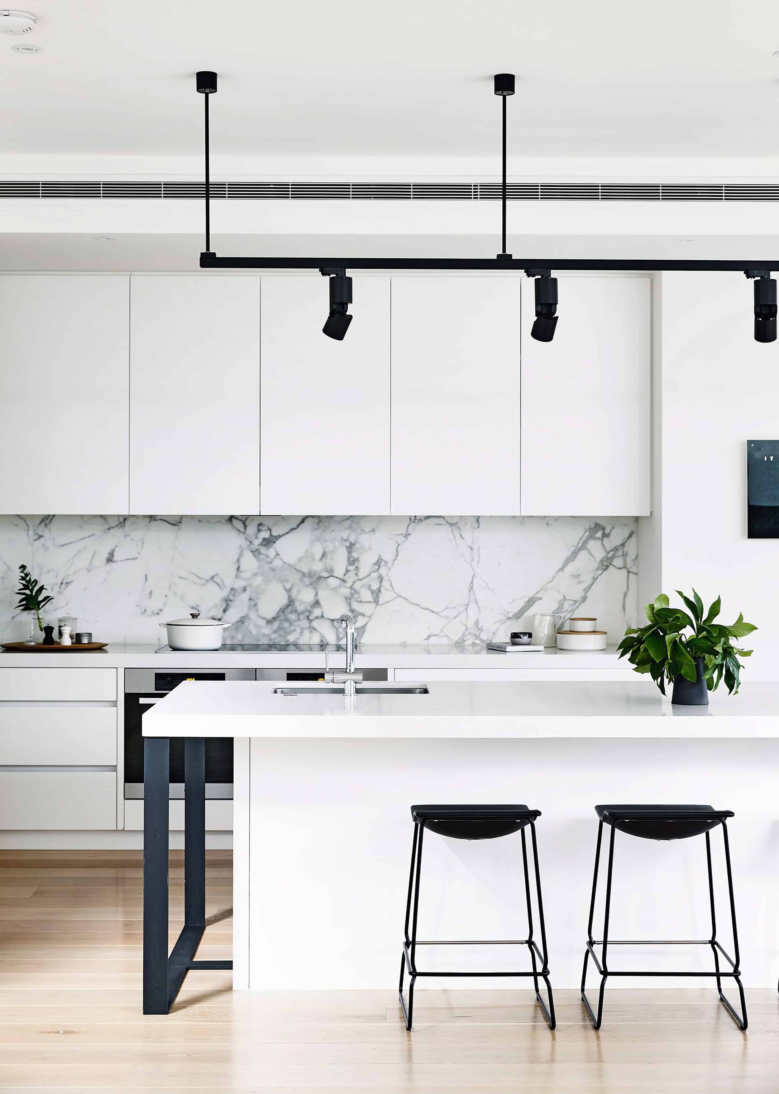 White marble kitchen modern track lighting