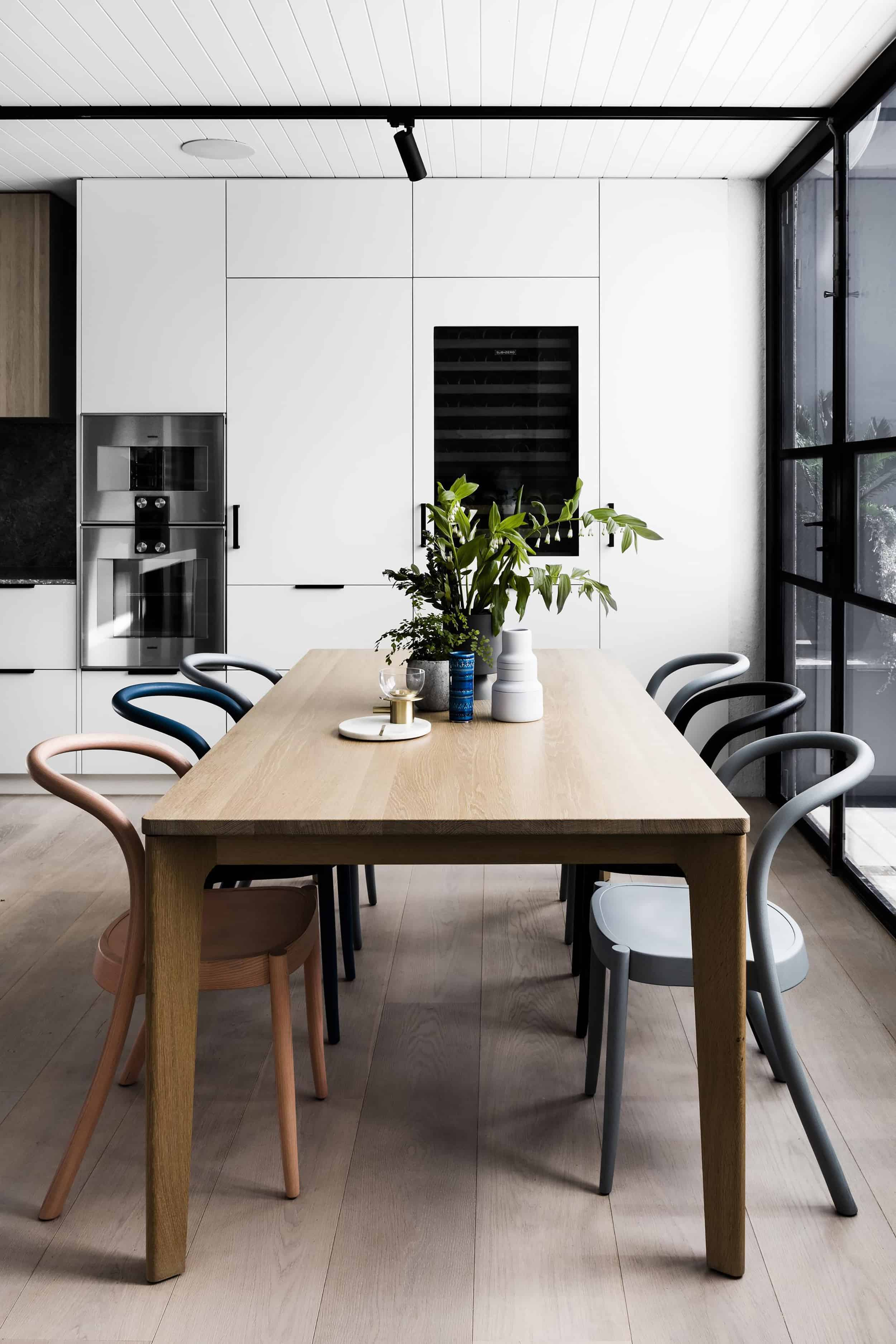modern dining room wood floors