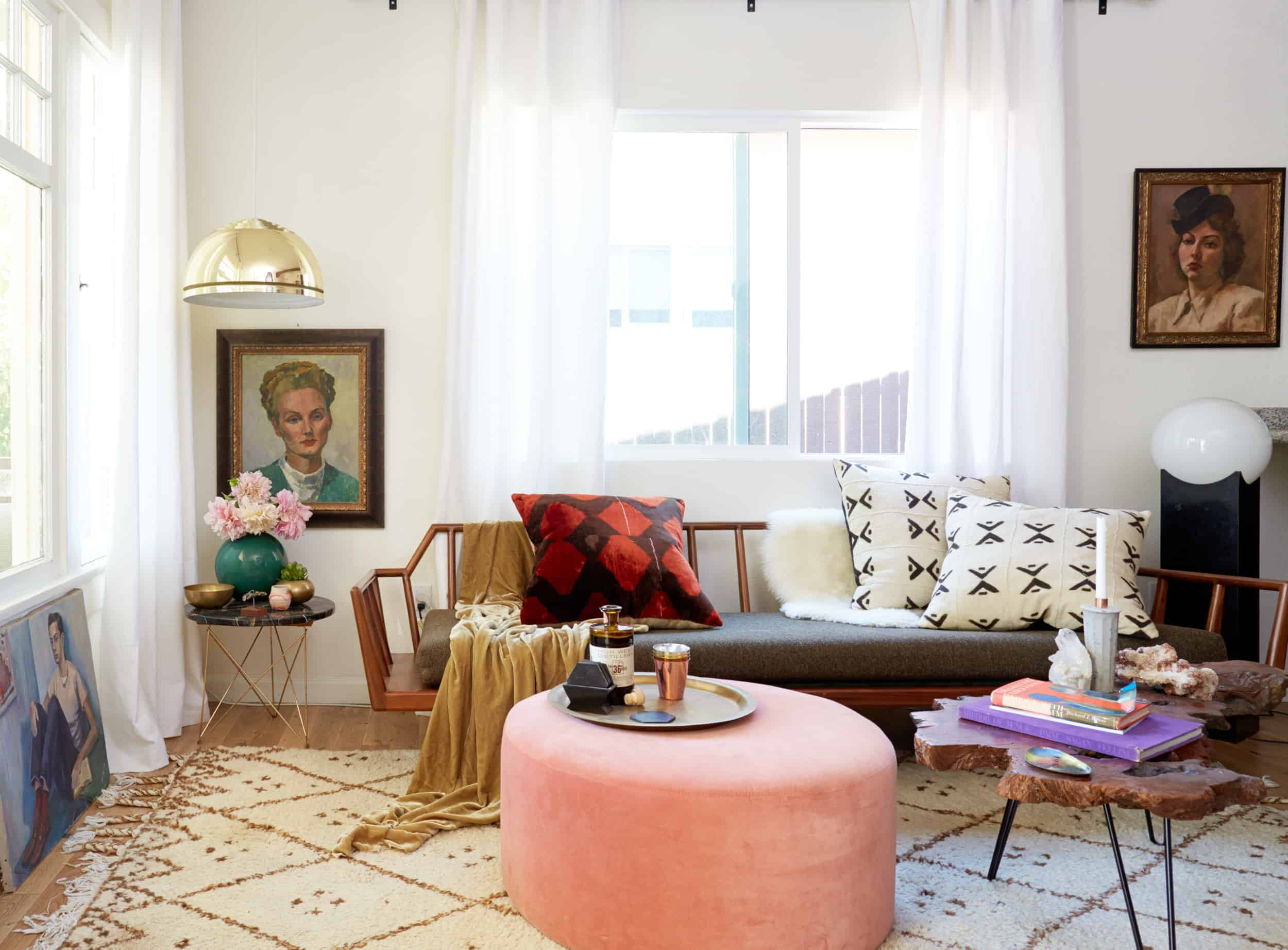 cool eclectic living room pink ottoman gold pendant vintage