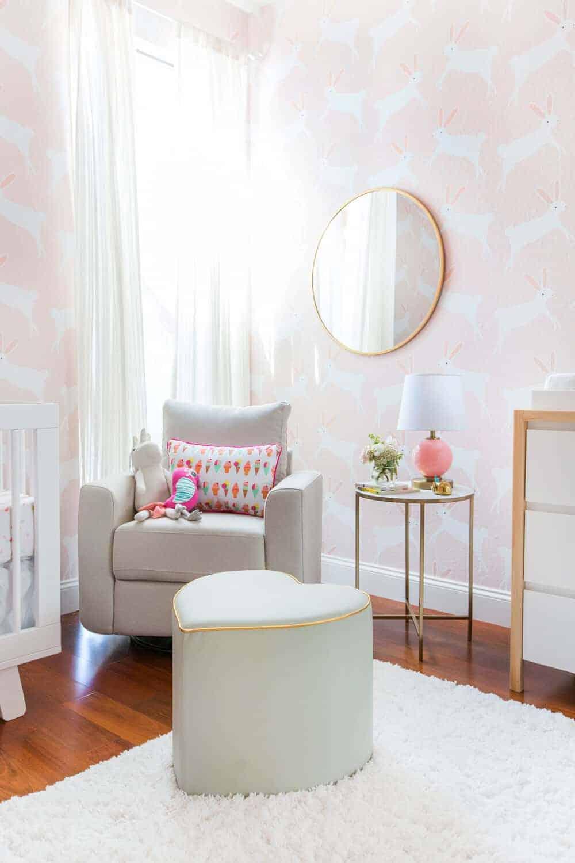 Pink Nursery Temporary wallpaper bunny wallpaper