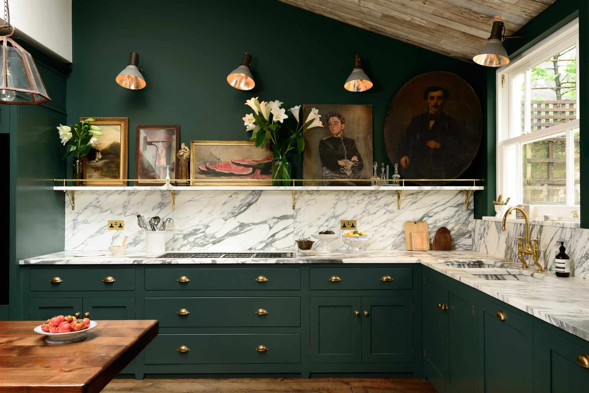 Dark Green deVol Kitchen With Marble Backsplash