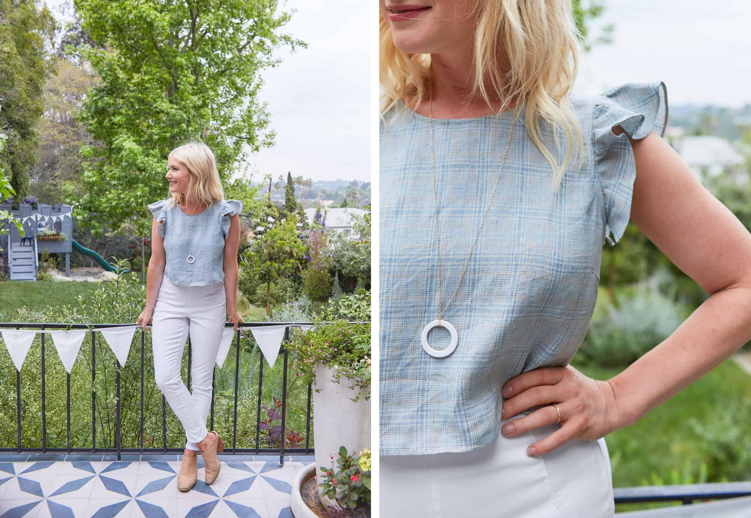 Emily Henderson Summer Fashion Basics Crop Ruffle Sleeve Top