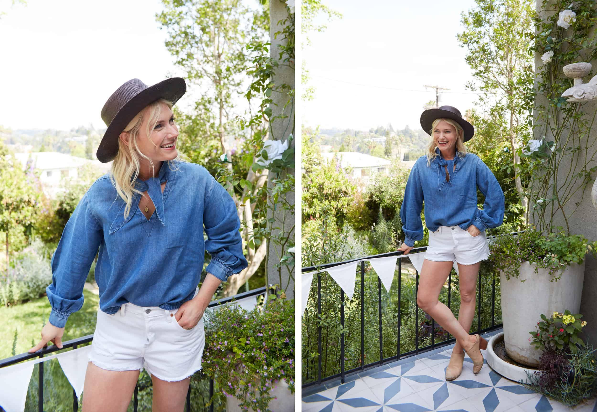 Emily Henderson Summer Fashion Basics Denim Neck Tie Top