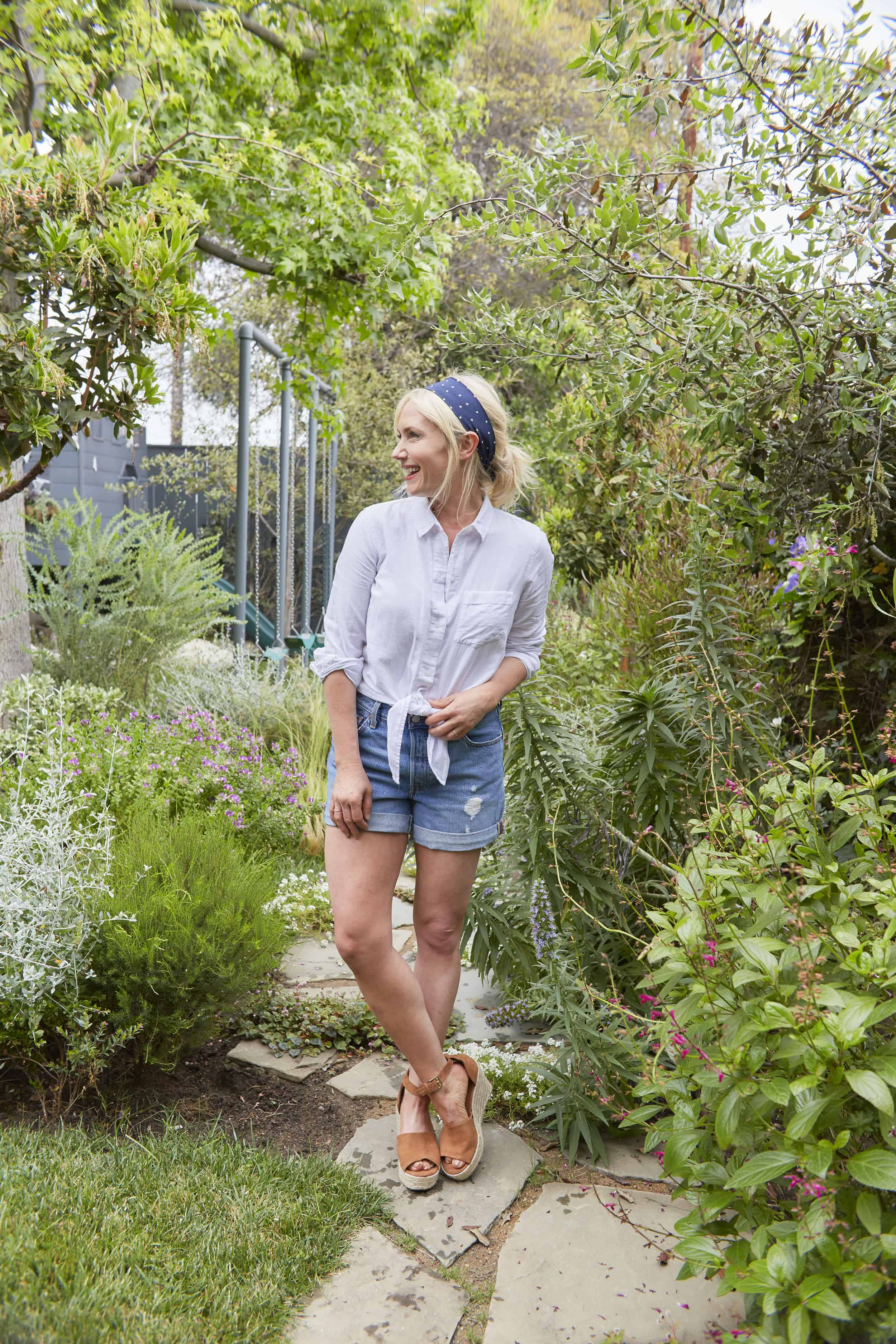 Emily Henderson Summer Fashion Basics Denim Shorts White Button Down Head Band Scarf