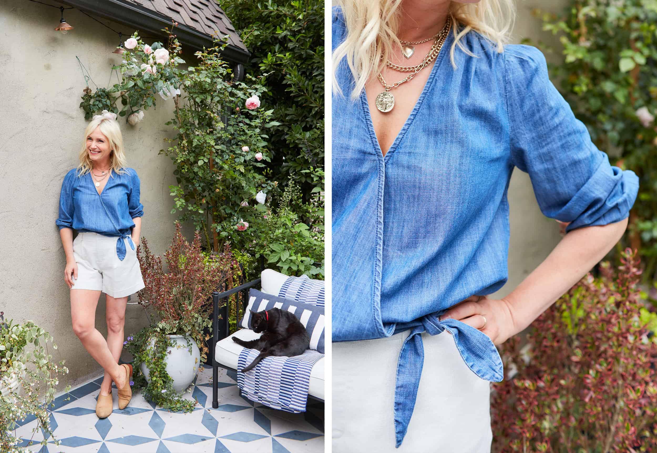 Emily Henderson Summer Fashion Basics Emily Henderson Summer Fashion Basics Chambray Wrap Top