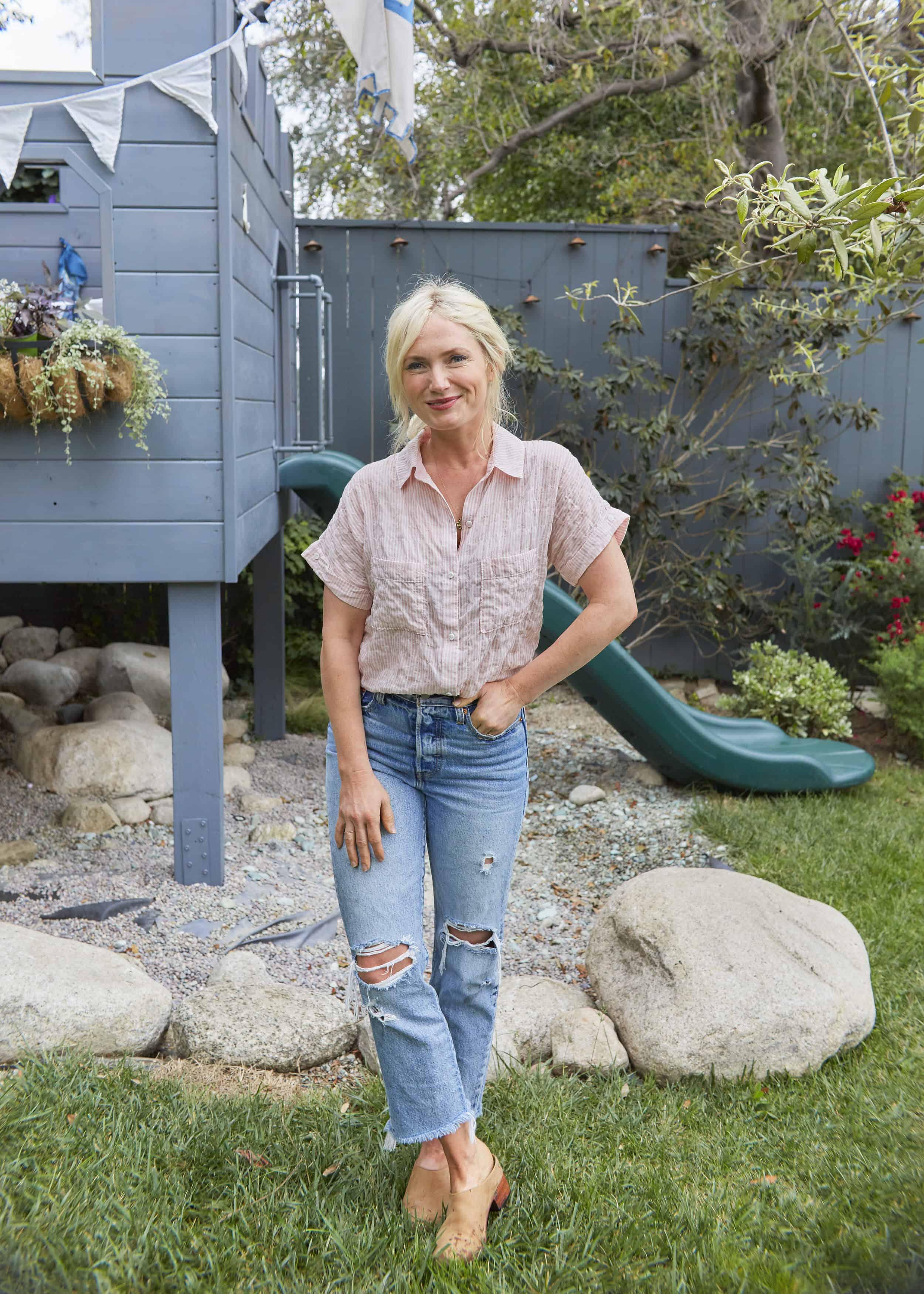 Emily Henderson Summer Fashion Basics Levis Wedgie Fit Jean Pink Stripe Blouse