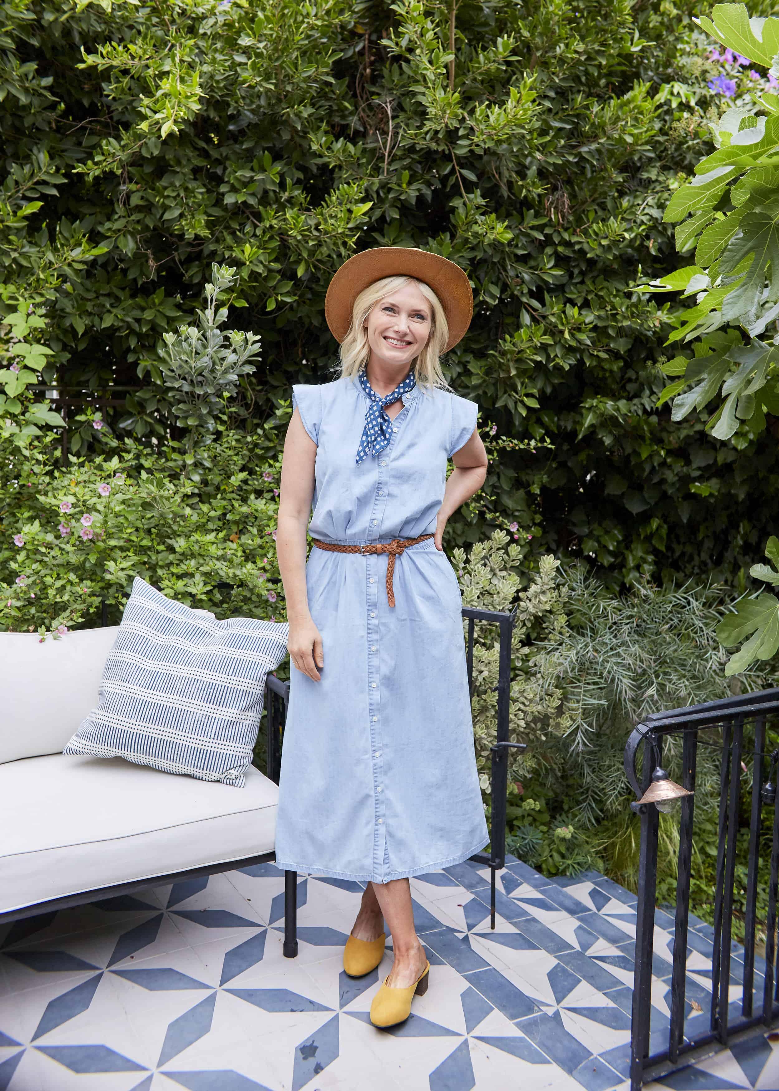 Emily Henderson Summer Fashion Basics Madewell Chambray Dress Yellow Target Mules