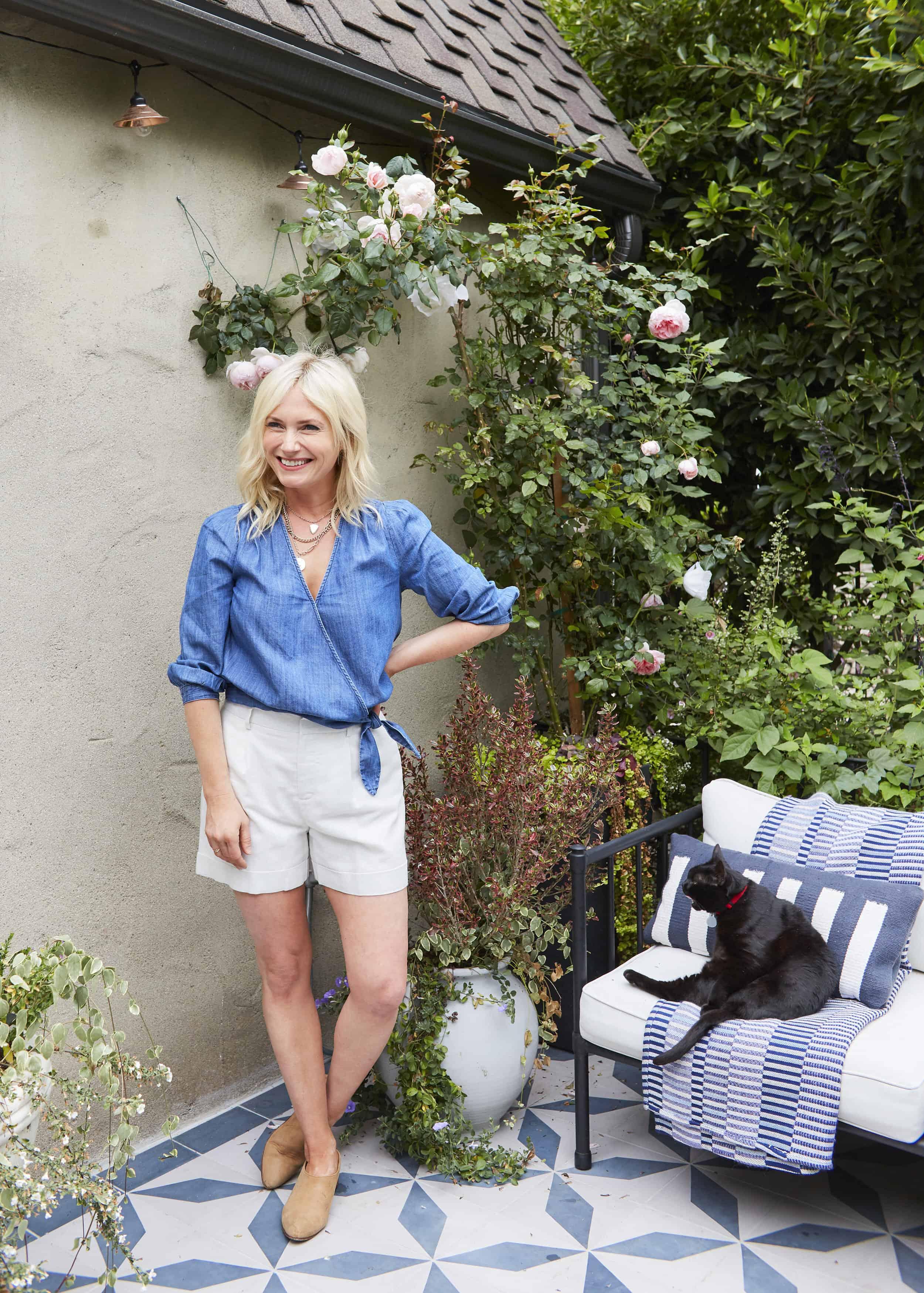 Emily Henderson Summer Fashion Basics Madewell Chambray Wrap Top Metallic Shorts