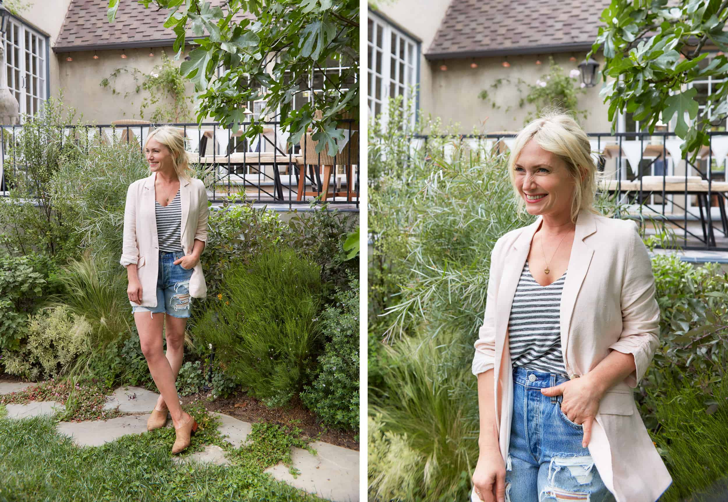 Emily Henderson Summer Fashion Basics Pink Linen Jacket1