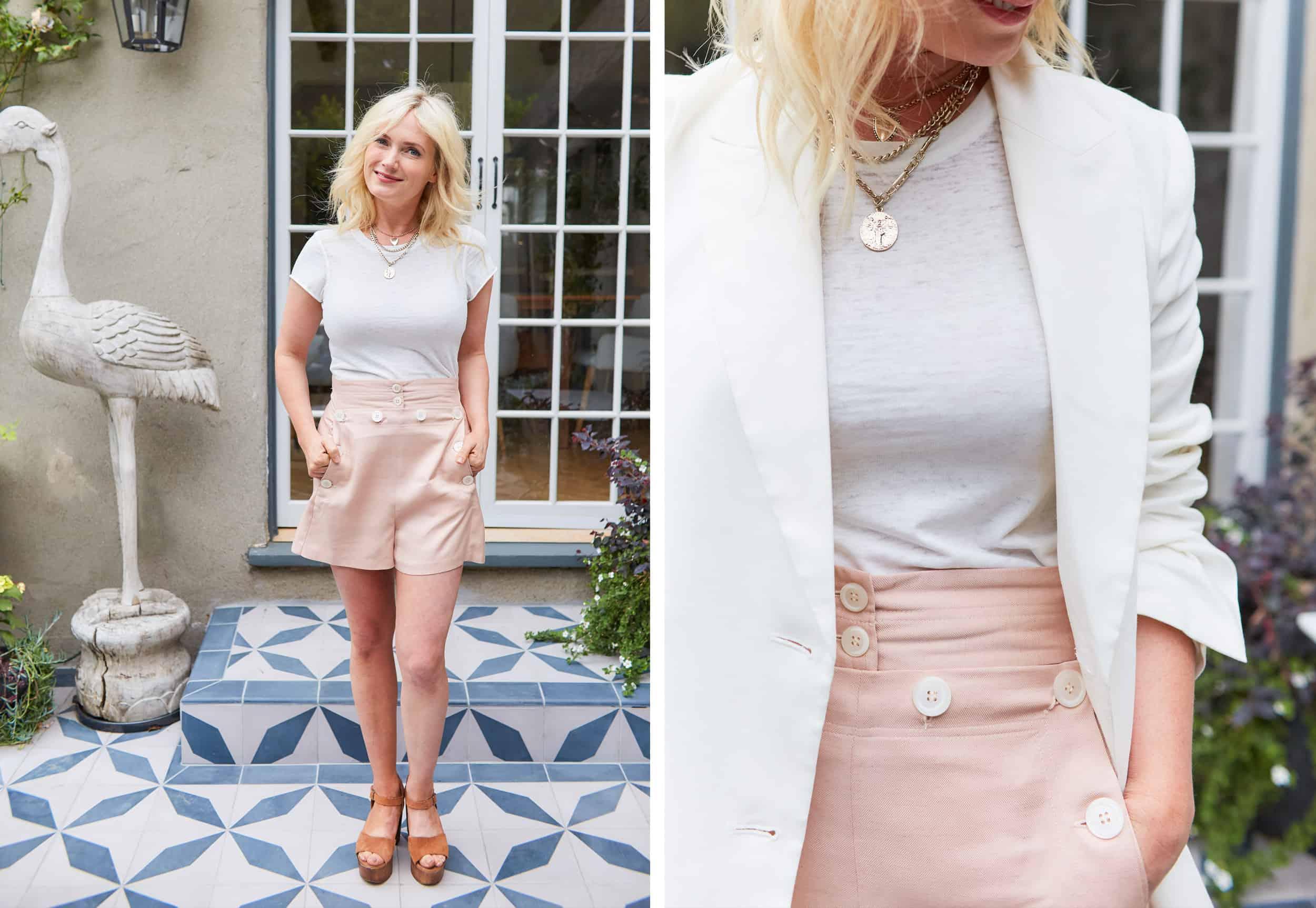 Emily Henderson Summer Fashion Basics Pink Linen Short
