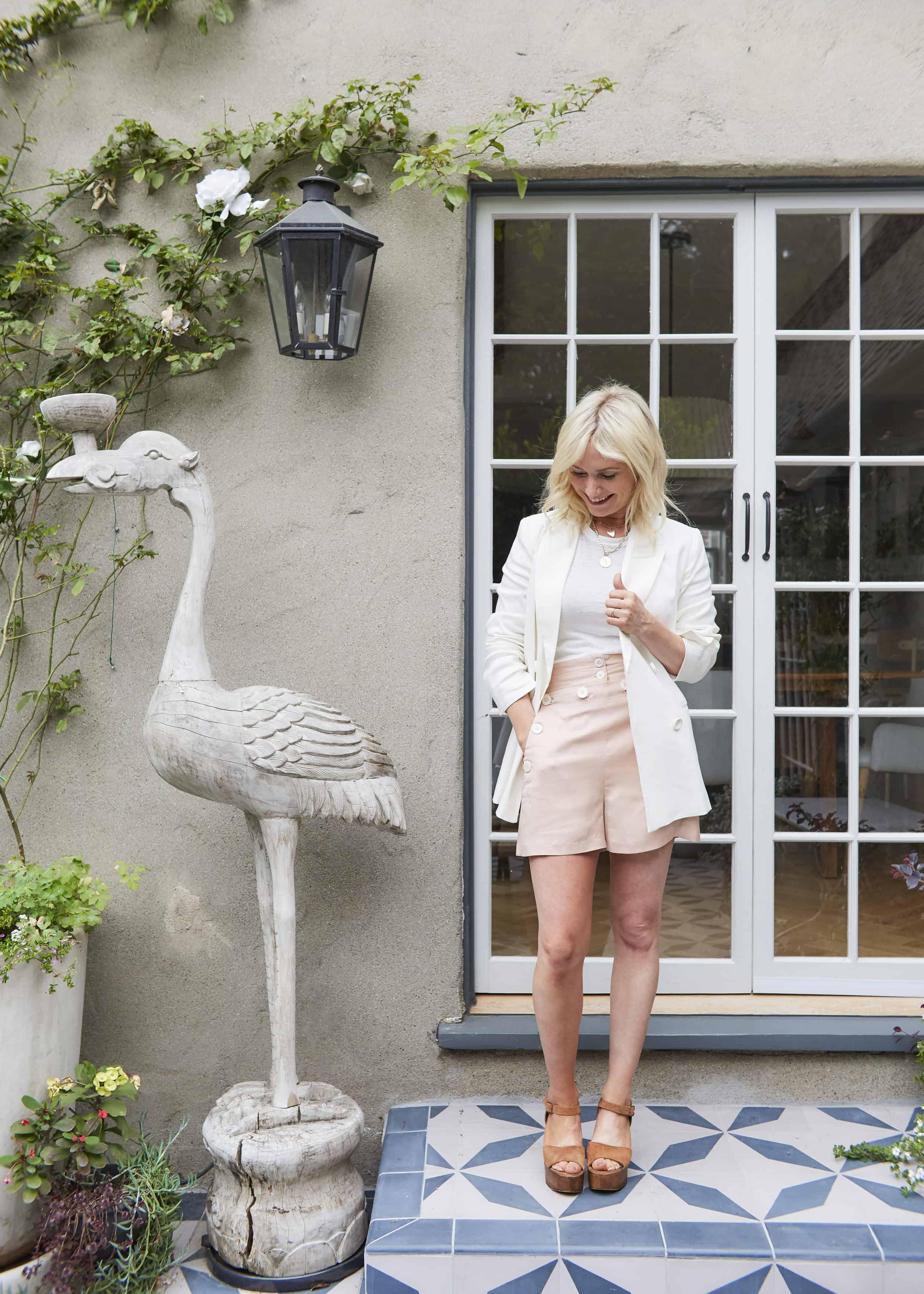 Emily Henderson Summer Fashion Basics Pink Linen Shorts White Casual Blazer
