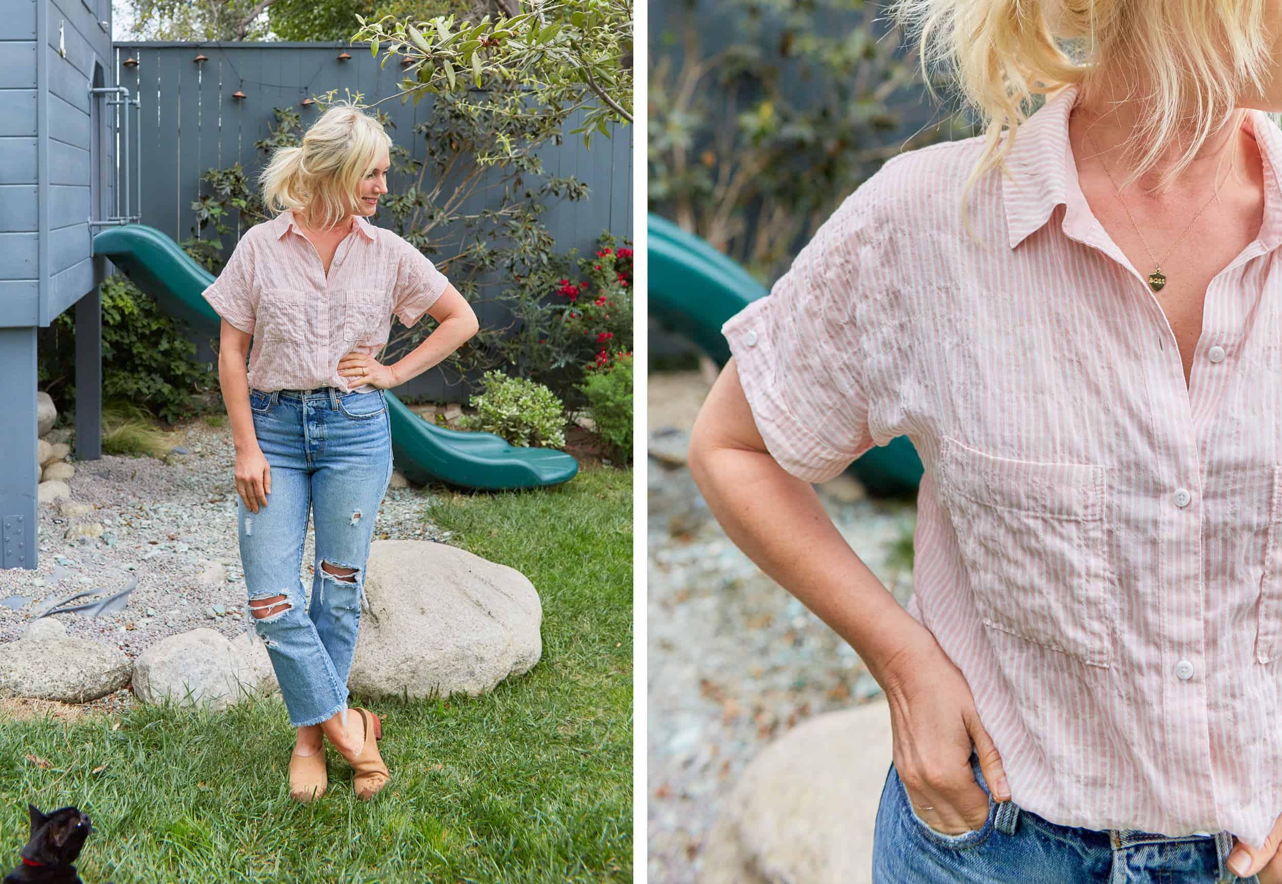 Emily Henderson Summer Fashion Basics Pink Stripe Shirt