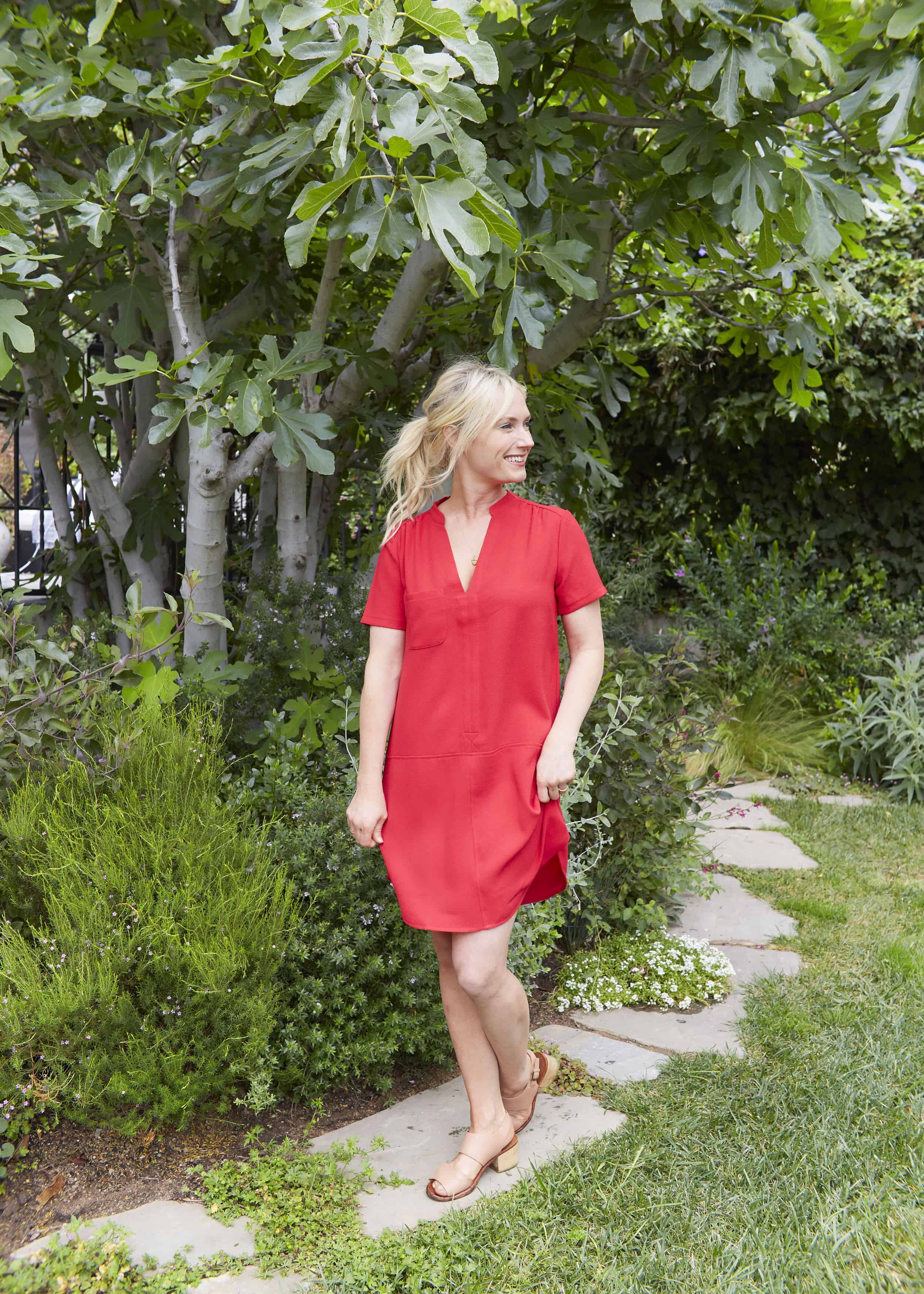 Emily Henderson Summer Fashion Basics Simple Red Shift Dress