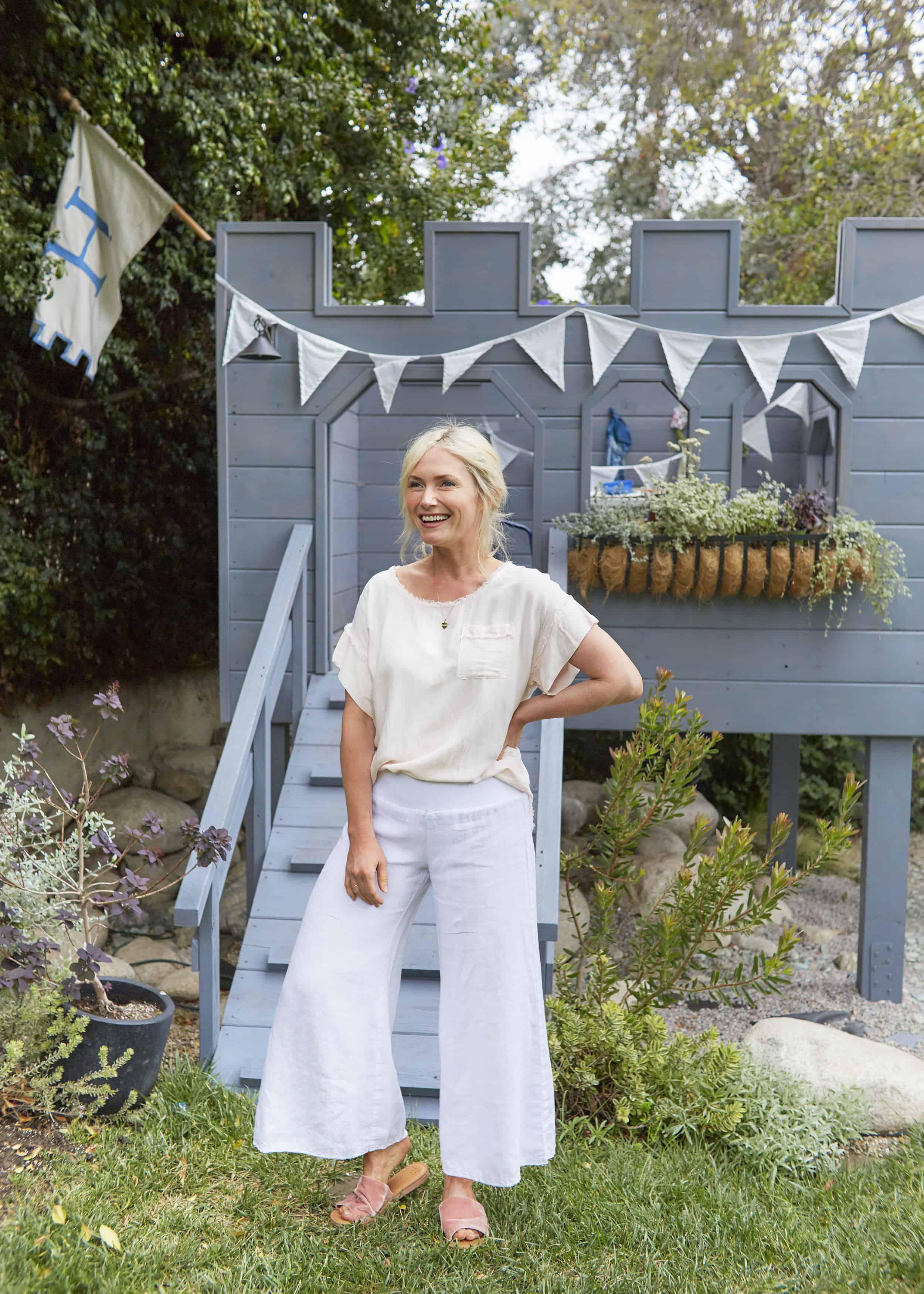 Emily Henderson Summer Fashion Basics White Linen Wide Leg Pant