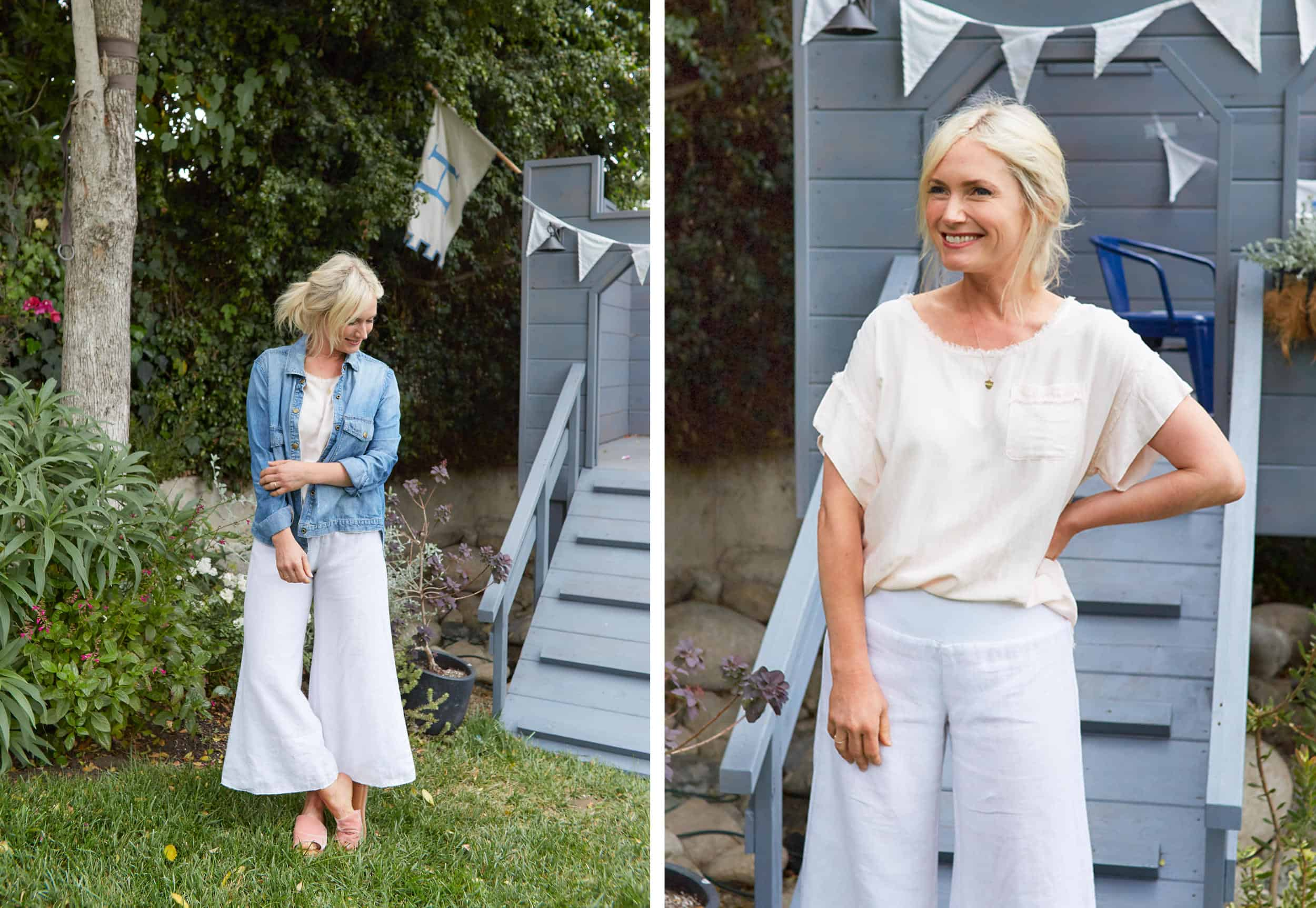Emily Henderson Summer Fashion Basics White Loose Pants