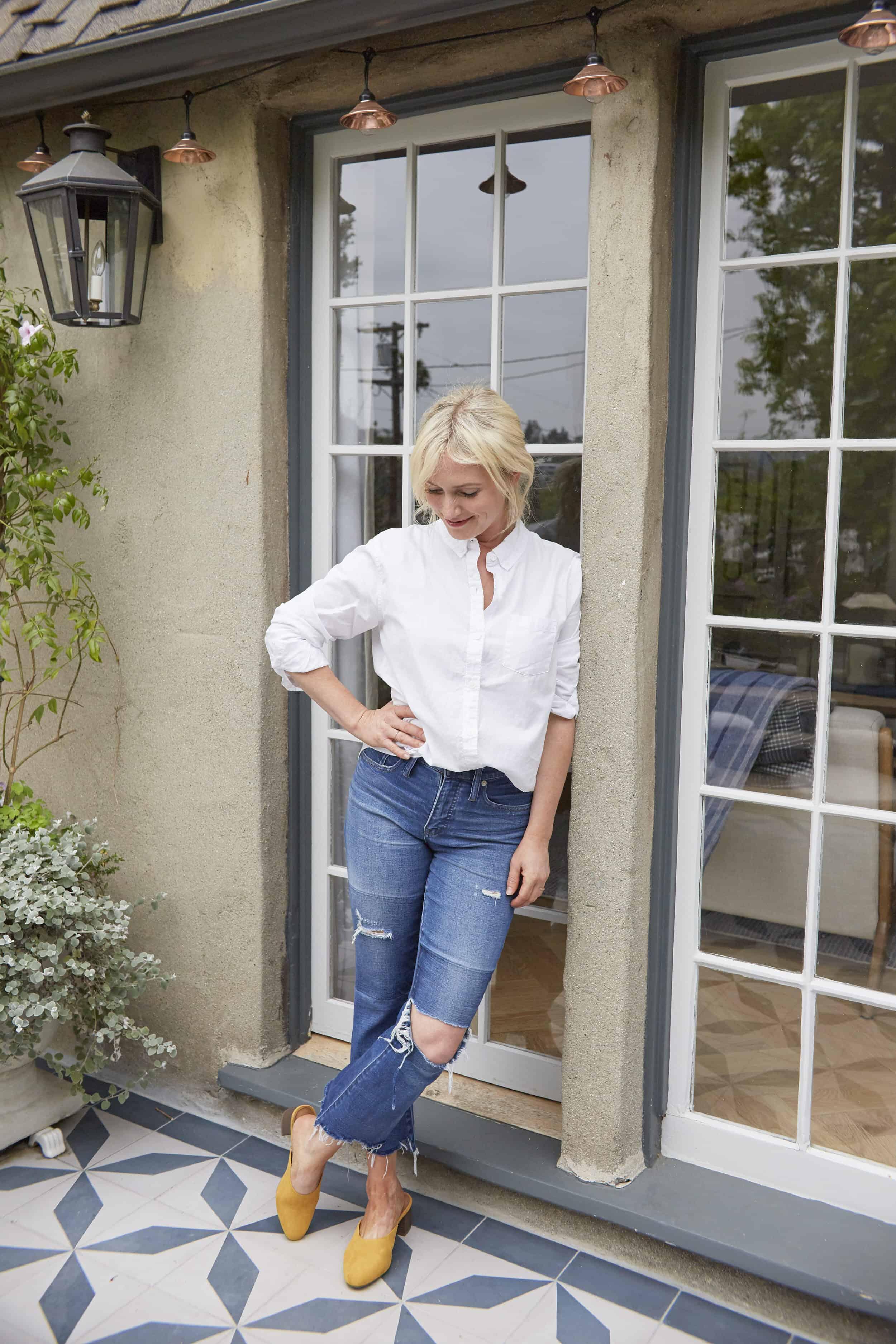 Emily Henderson Summer Fashion Basics Yellow Mule Slides White Button Down