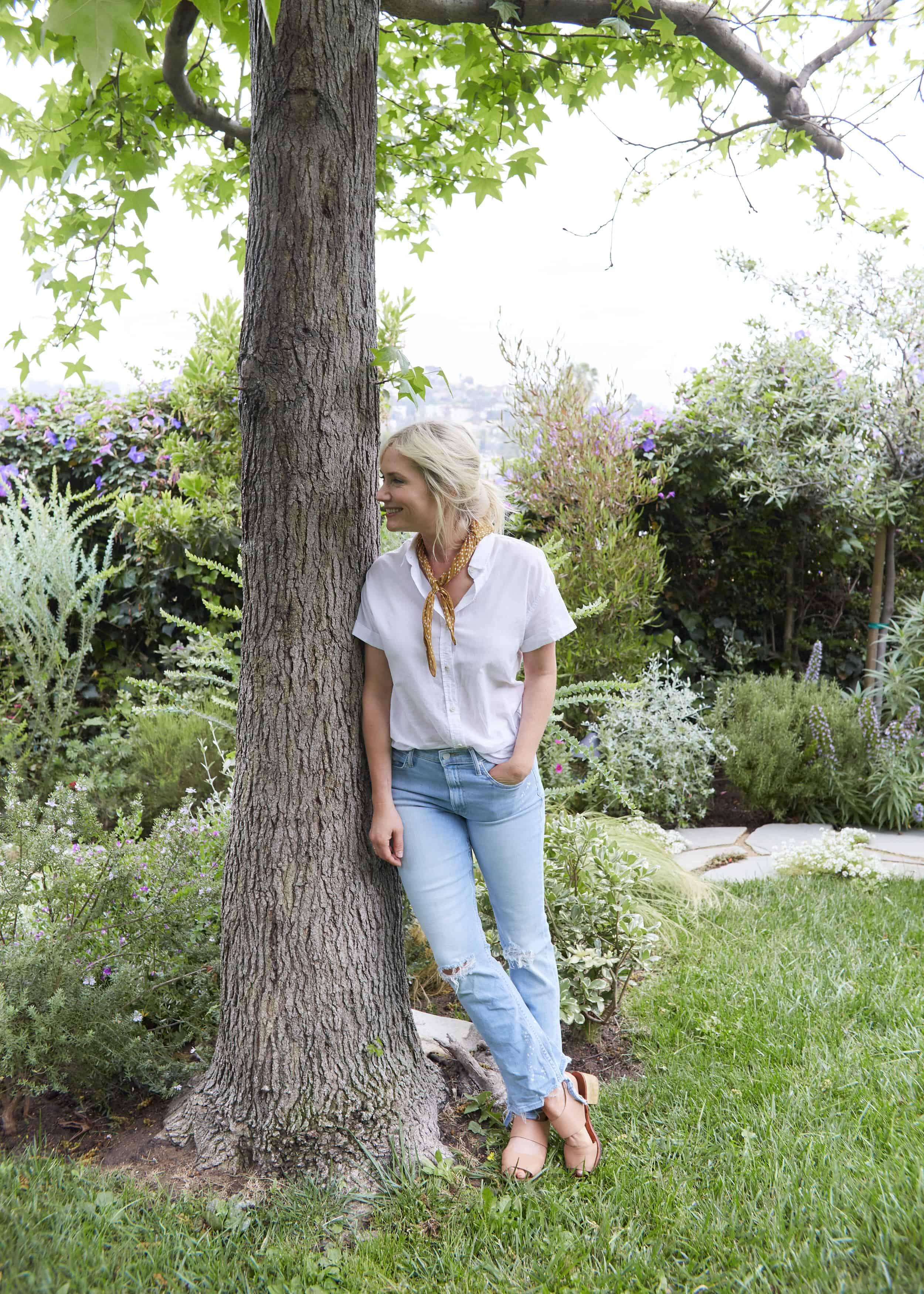 Emily Henderson Summer Fashion Basics Yellow Neck Scarf Mother Denim Jeans Basic White Button Down