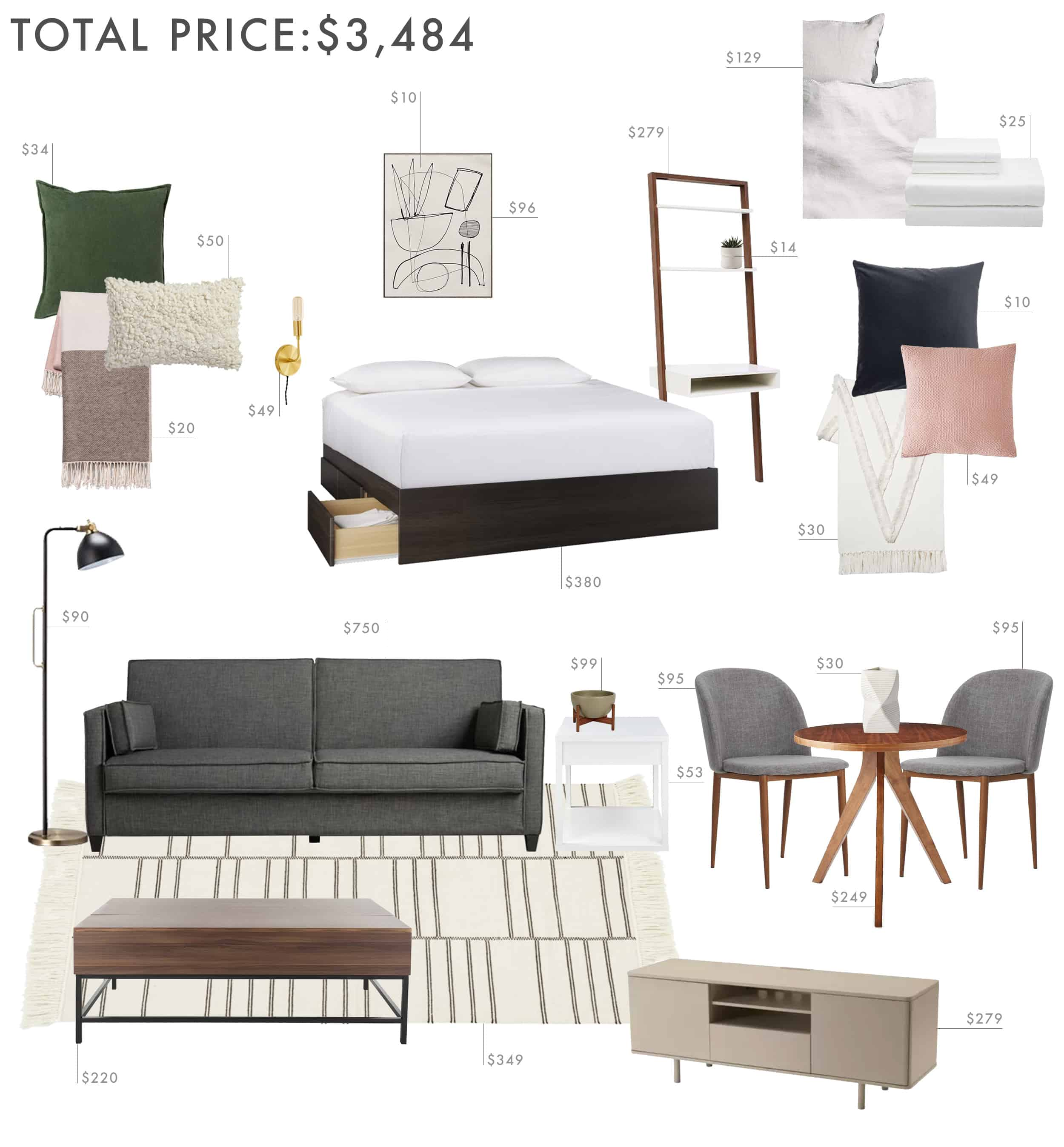 Emily Henderson Budget Room Studio Apartment 500sq Ft Under 3500k 2