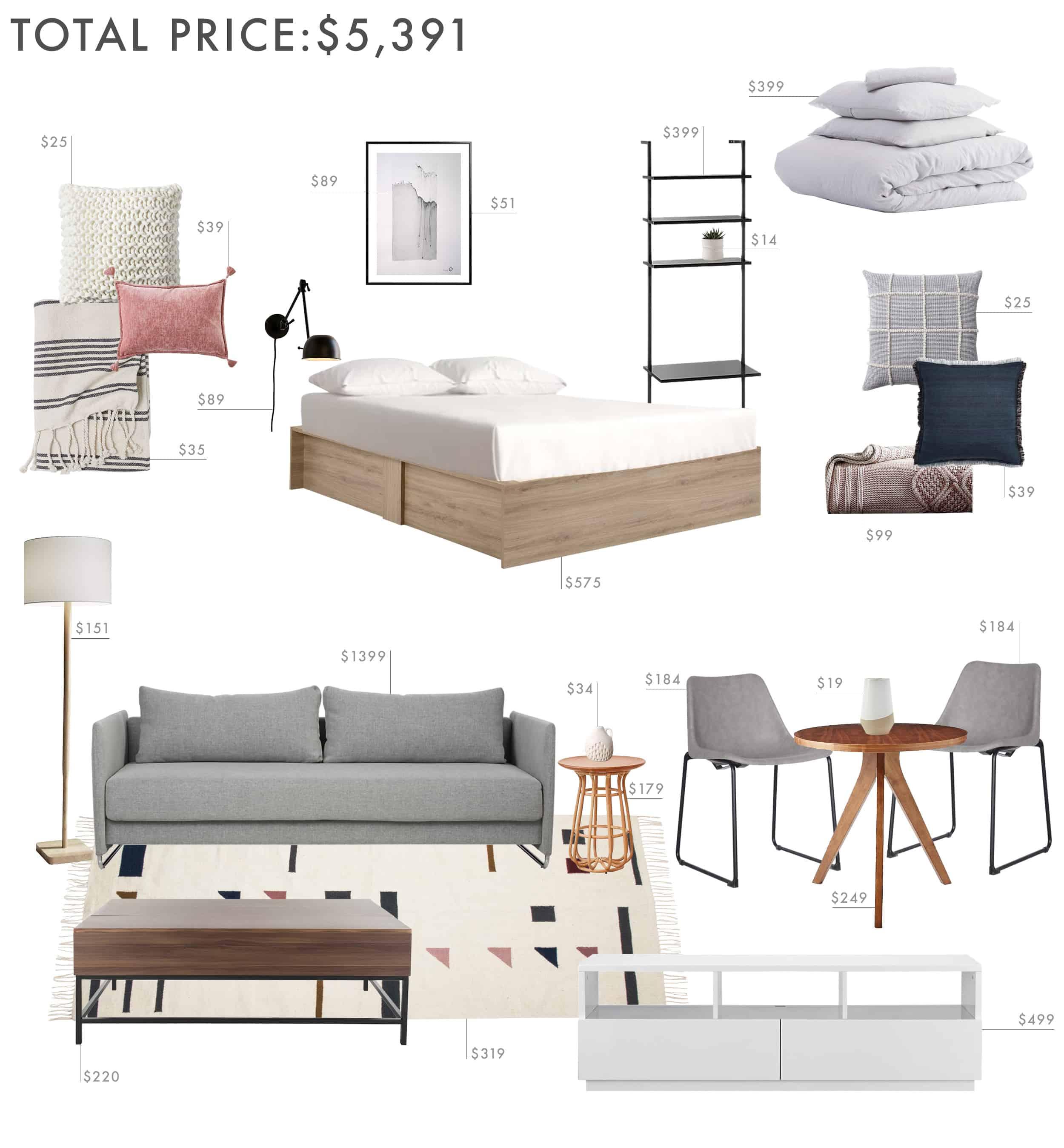 Emily Henderson Budget Room Studio Apartment 500sq Ft Under 5000k 1