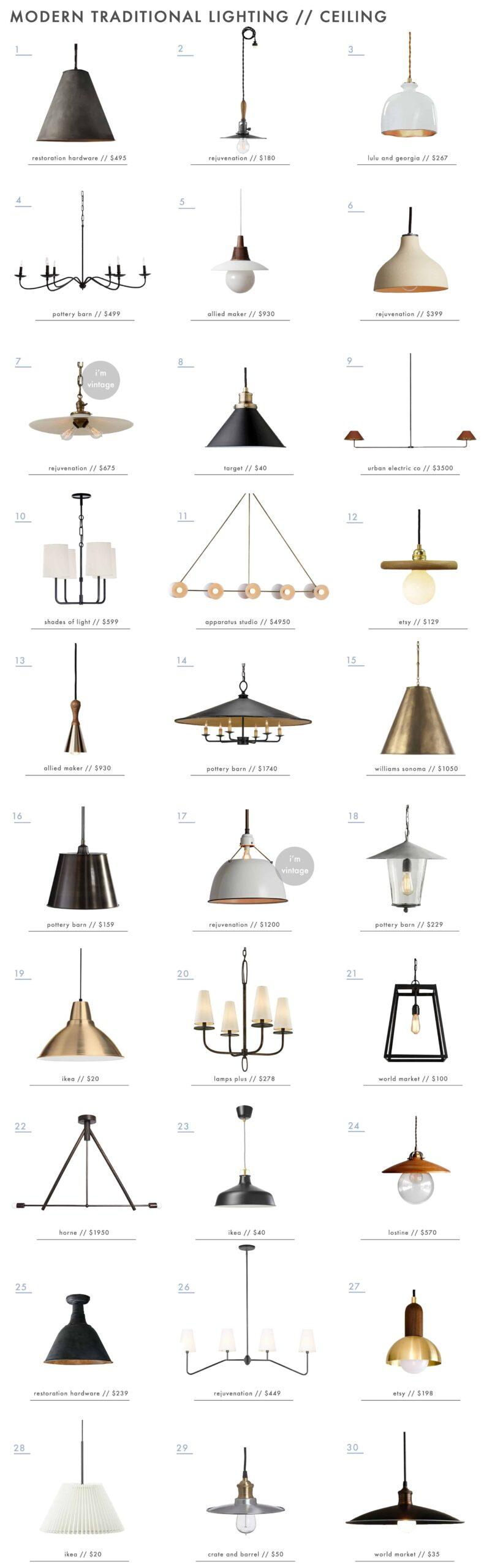 Emily Henderson Modern Traditional Lighting Ceiling Pendants Chandeliers Roundup 1