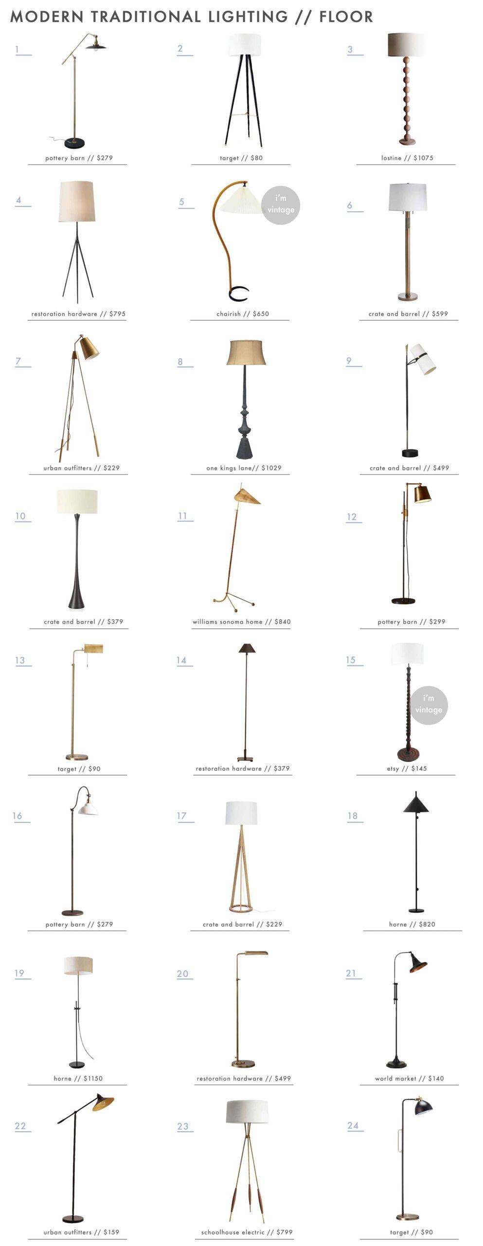 Emily Henderson Modern Traditional Lighting Floor Lamps Roundup 1