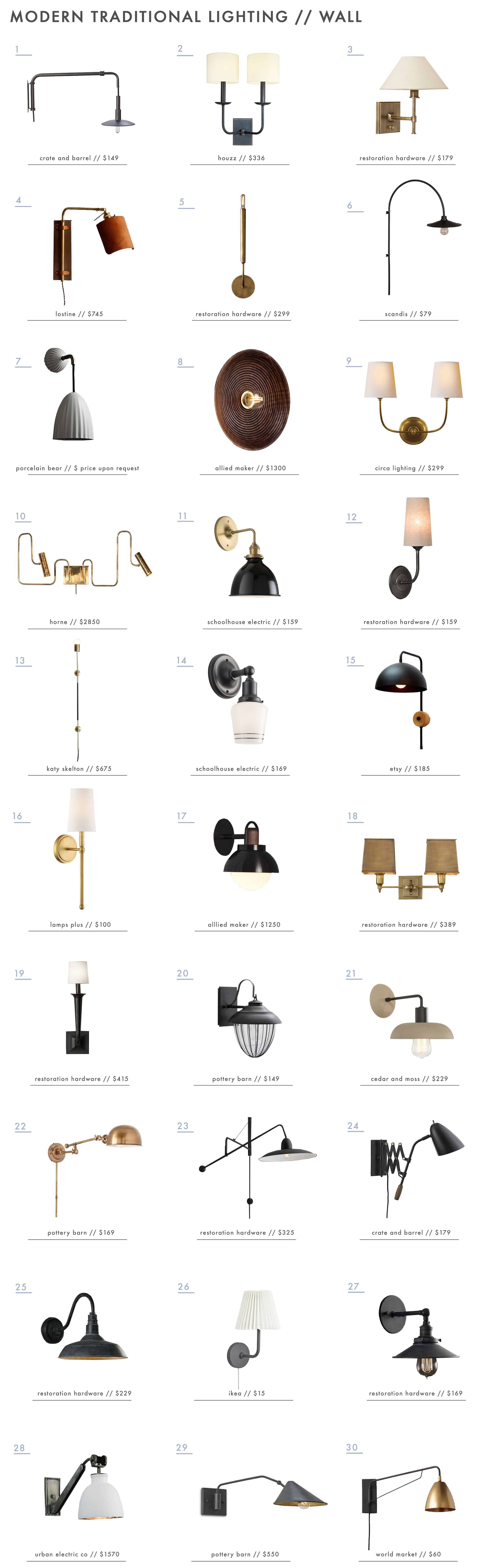 Emily Henderson Modern Traditional Lighting Wall Sconces Roundup
