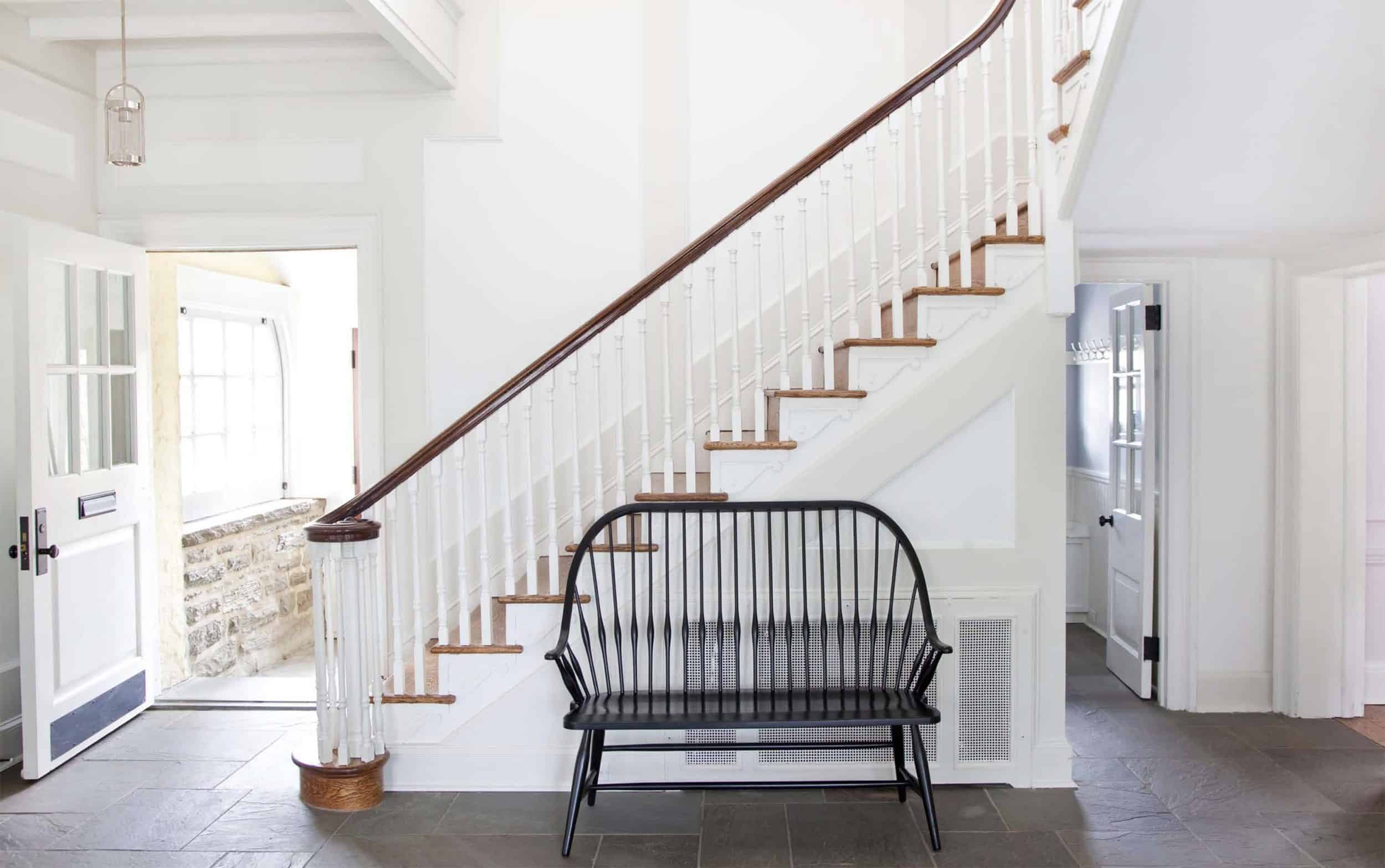 Modern Traditional Staircase With Windsor Bench