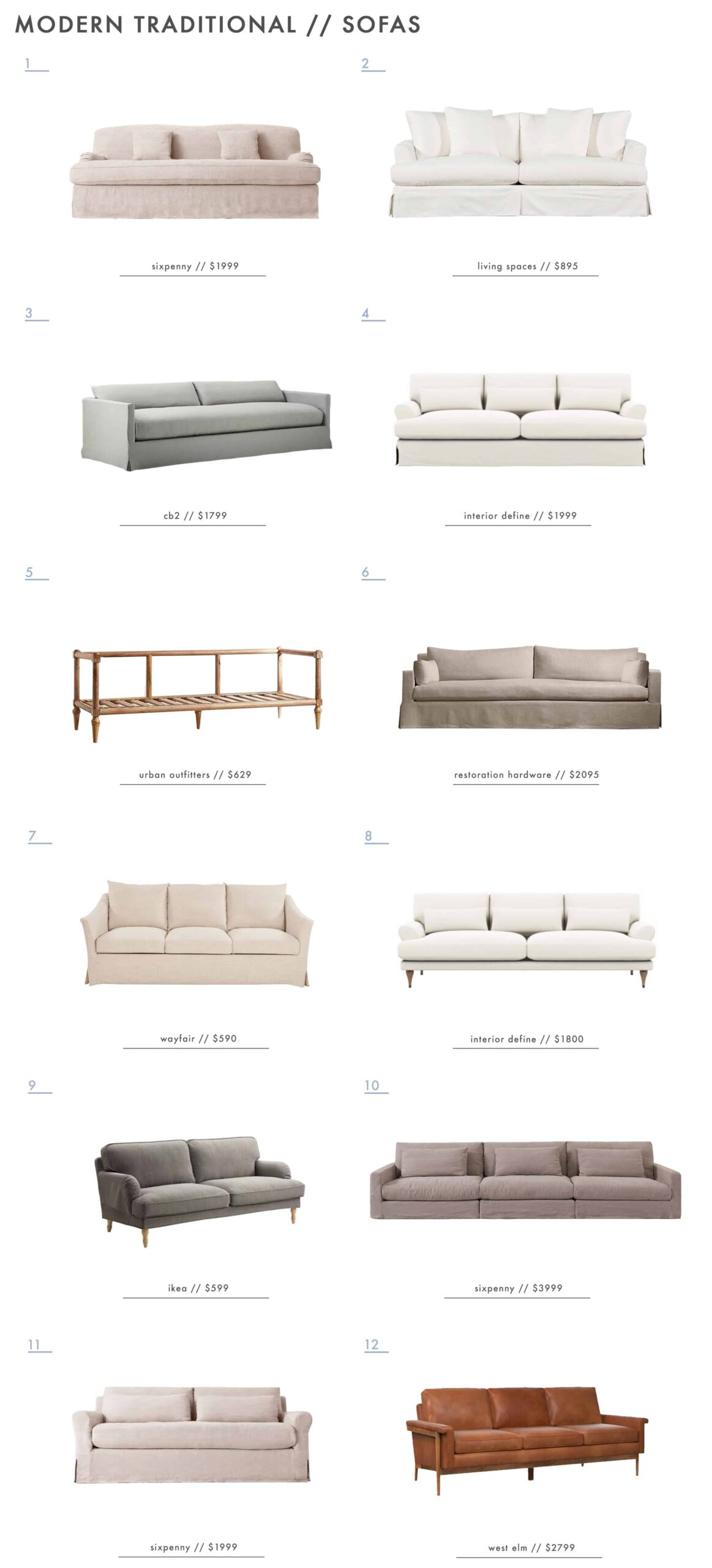 Emily Henderson Modern Simplified Traditional Furniture Sofas Roundup 1