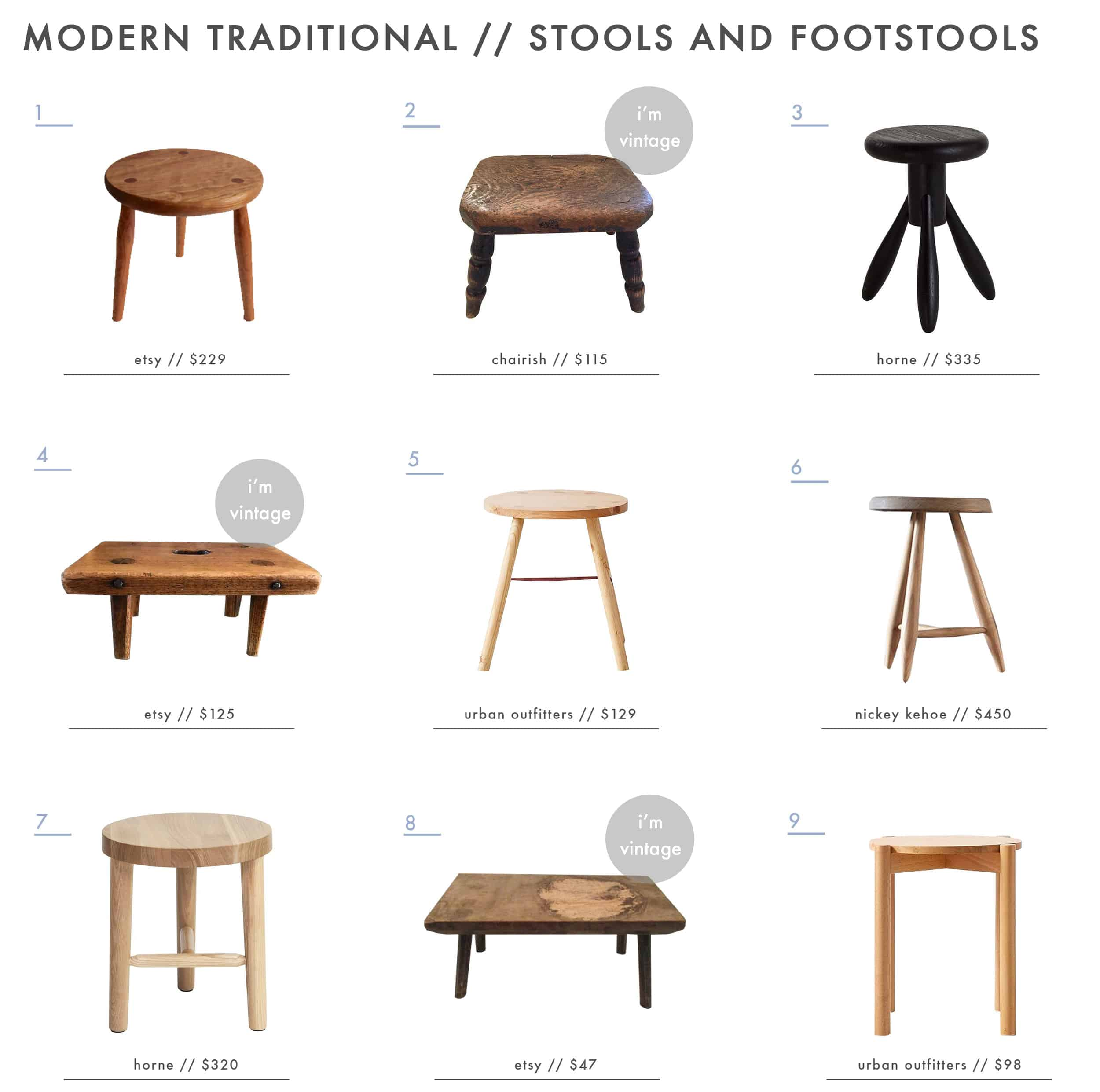 Emily Henderson Modern Simplified Traditional Furniture Stools Roundup 1