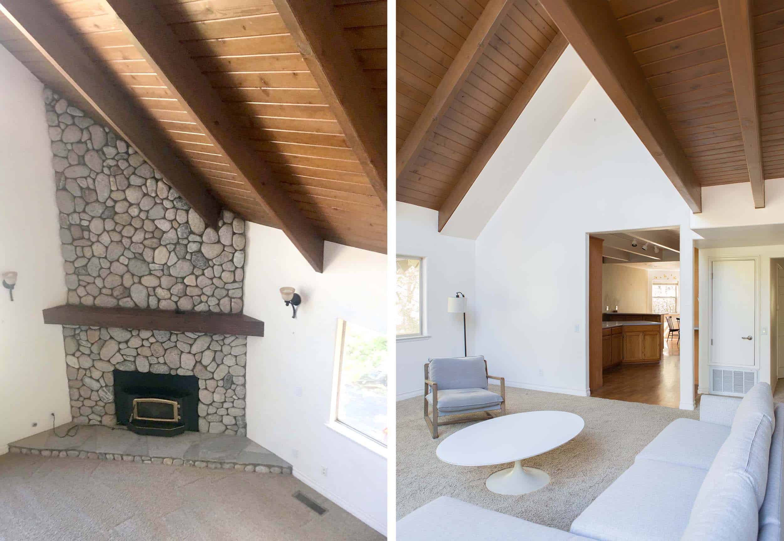 Emily Henderson Mountain Fixer Upper Ceiling Blasting Walnut Side By Side