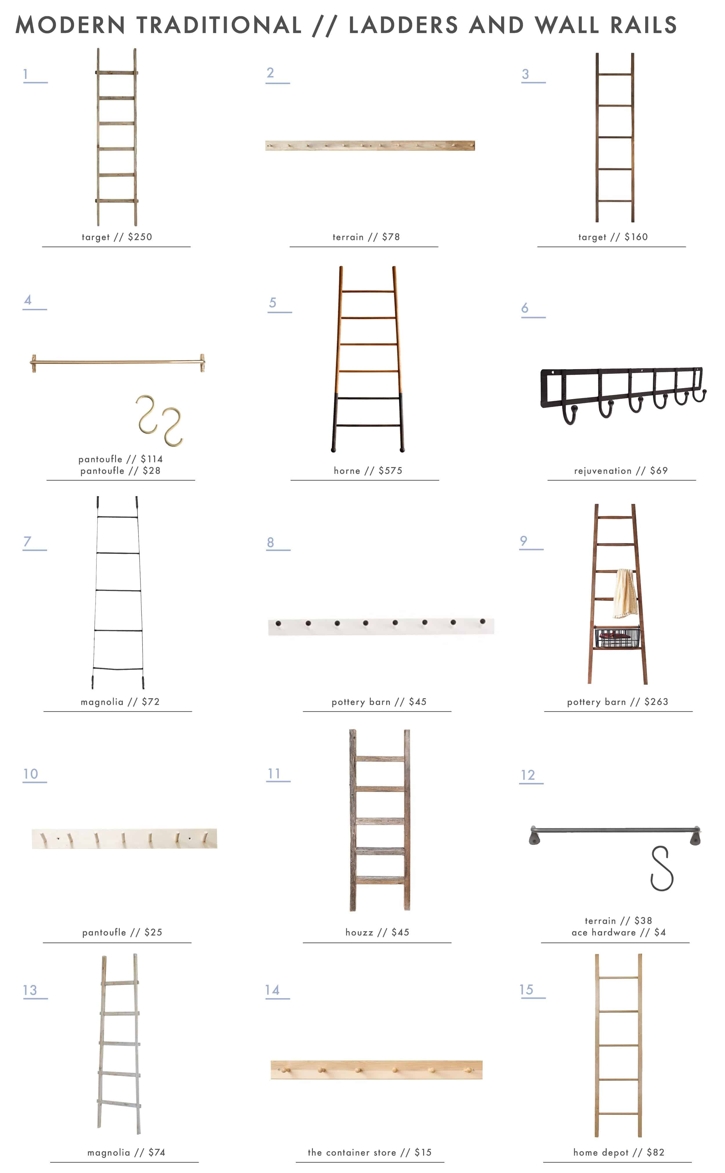 Emily Henderson Simplified Traditional Accessories Wooden Metal Ladders Peg Rails Hooks