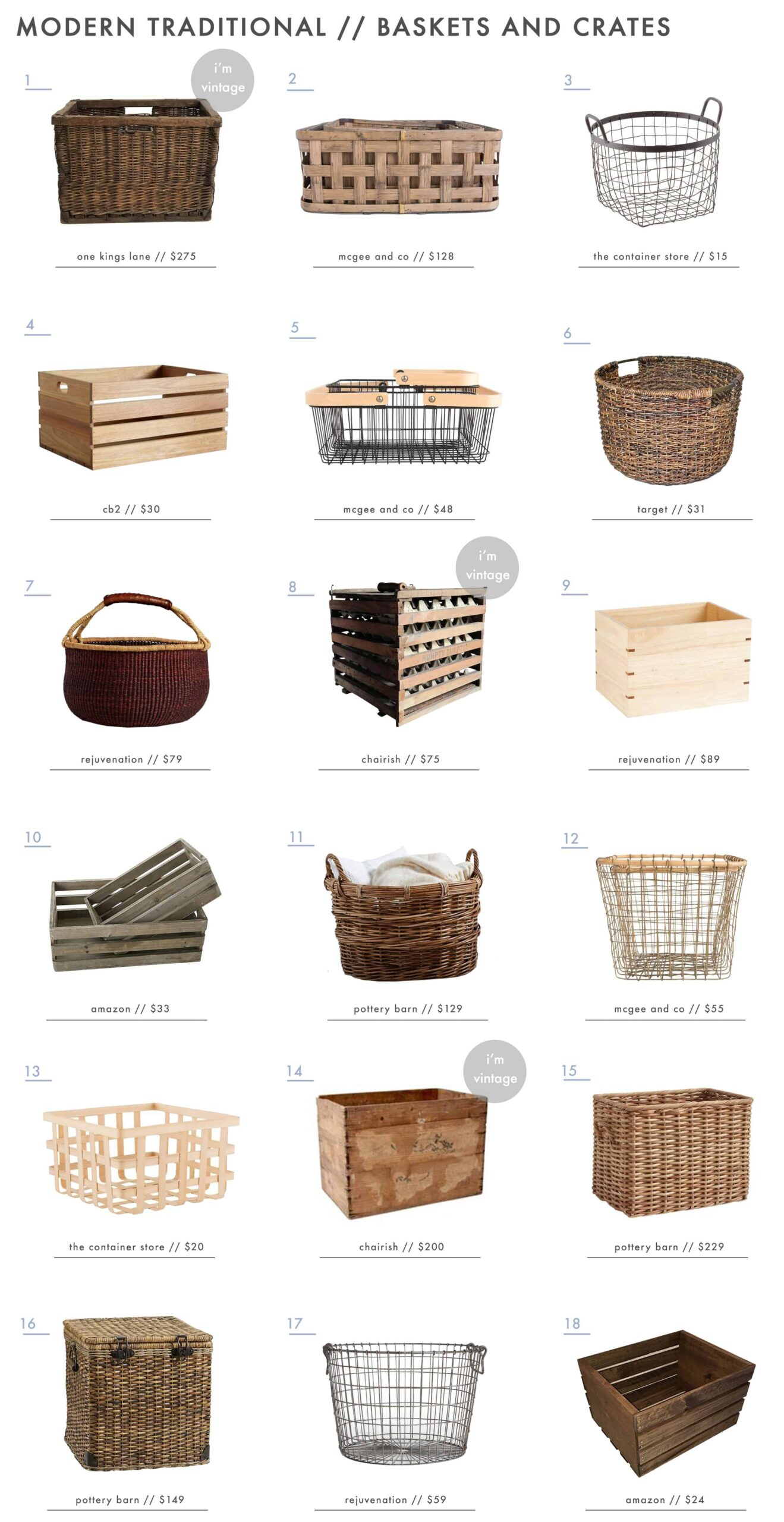 Emily Henderson Simplified Traditional Furniture Accessories Baskets Crates