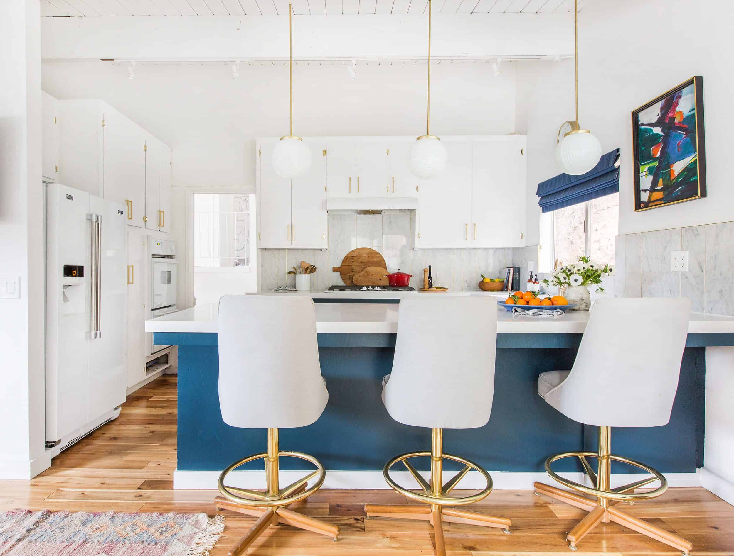 blue and white kitchen track lighting