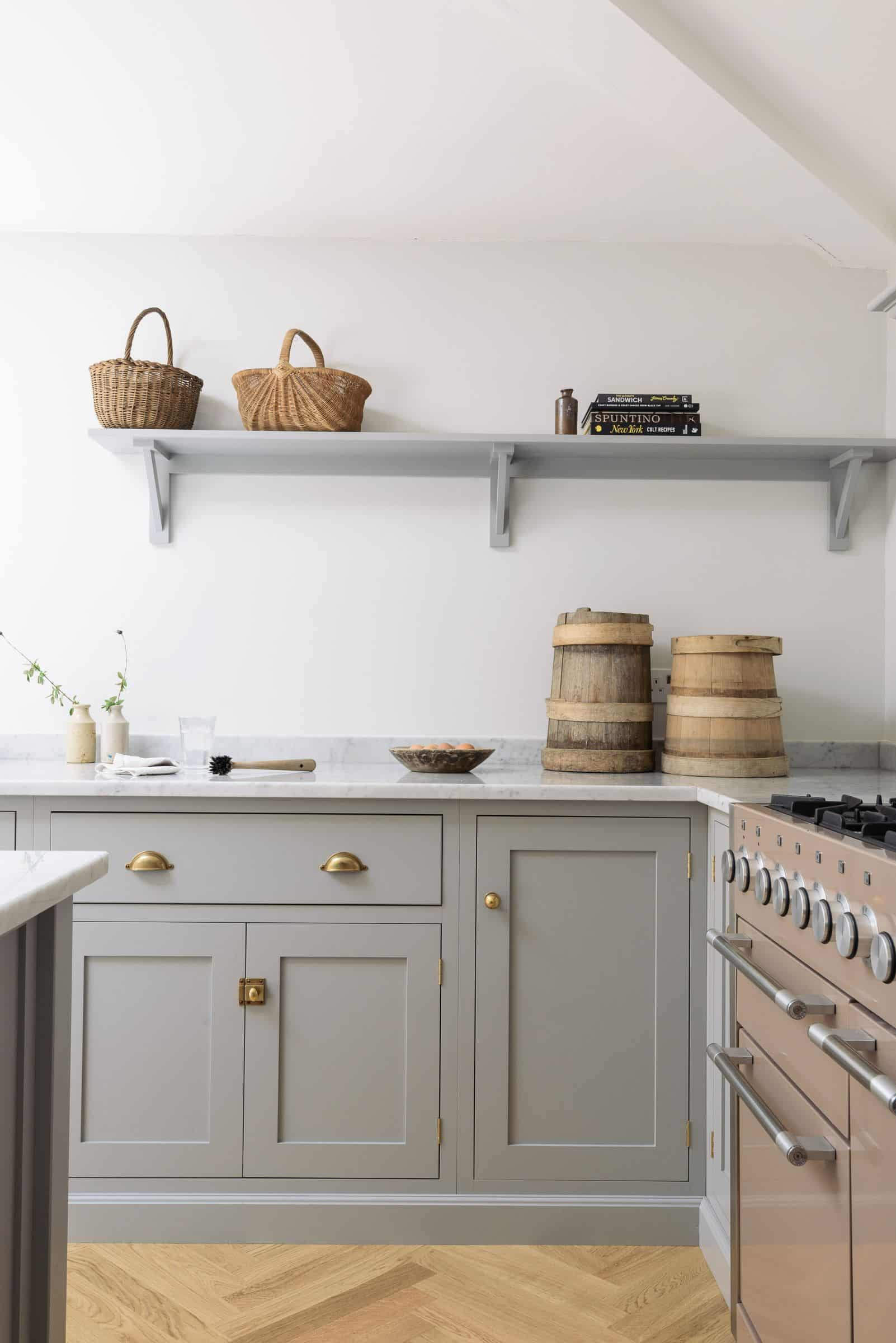 Gray Shaker Kitchen With Shelf