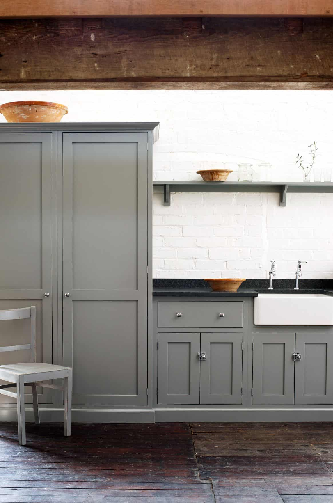 Gray Shaker Kitchen With Shelf deVol Kitchen
