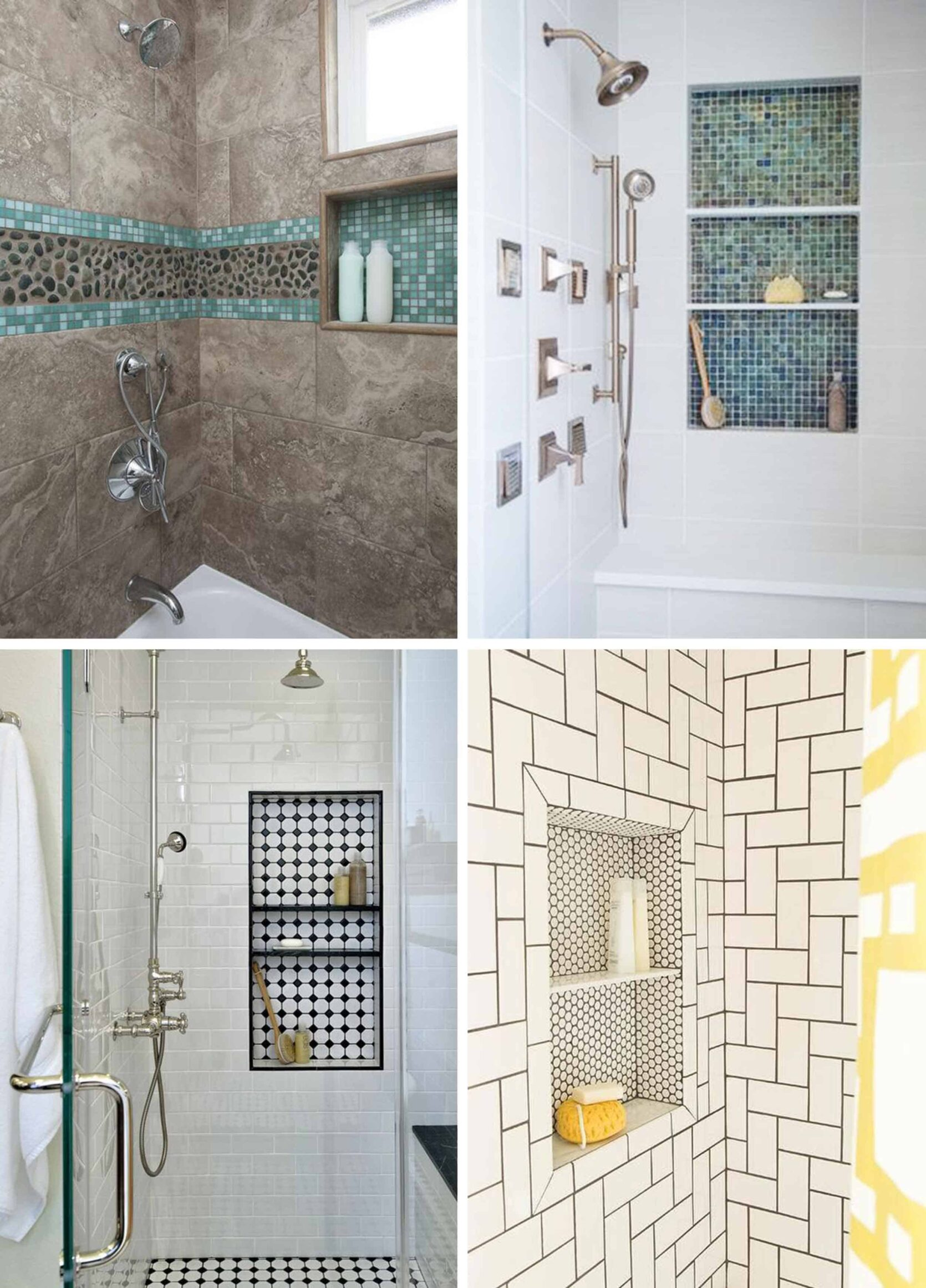 Shower Niche With Contrasting Tile